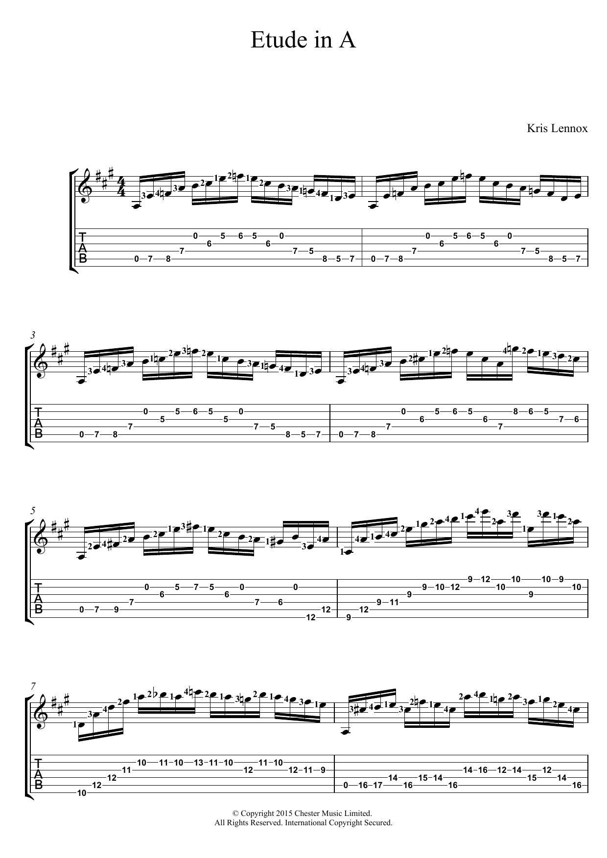Etude In A Sheet Music