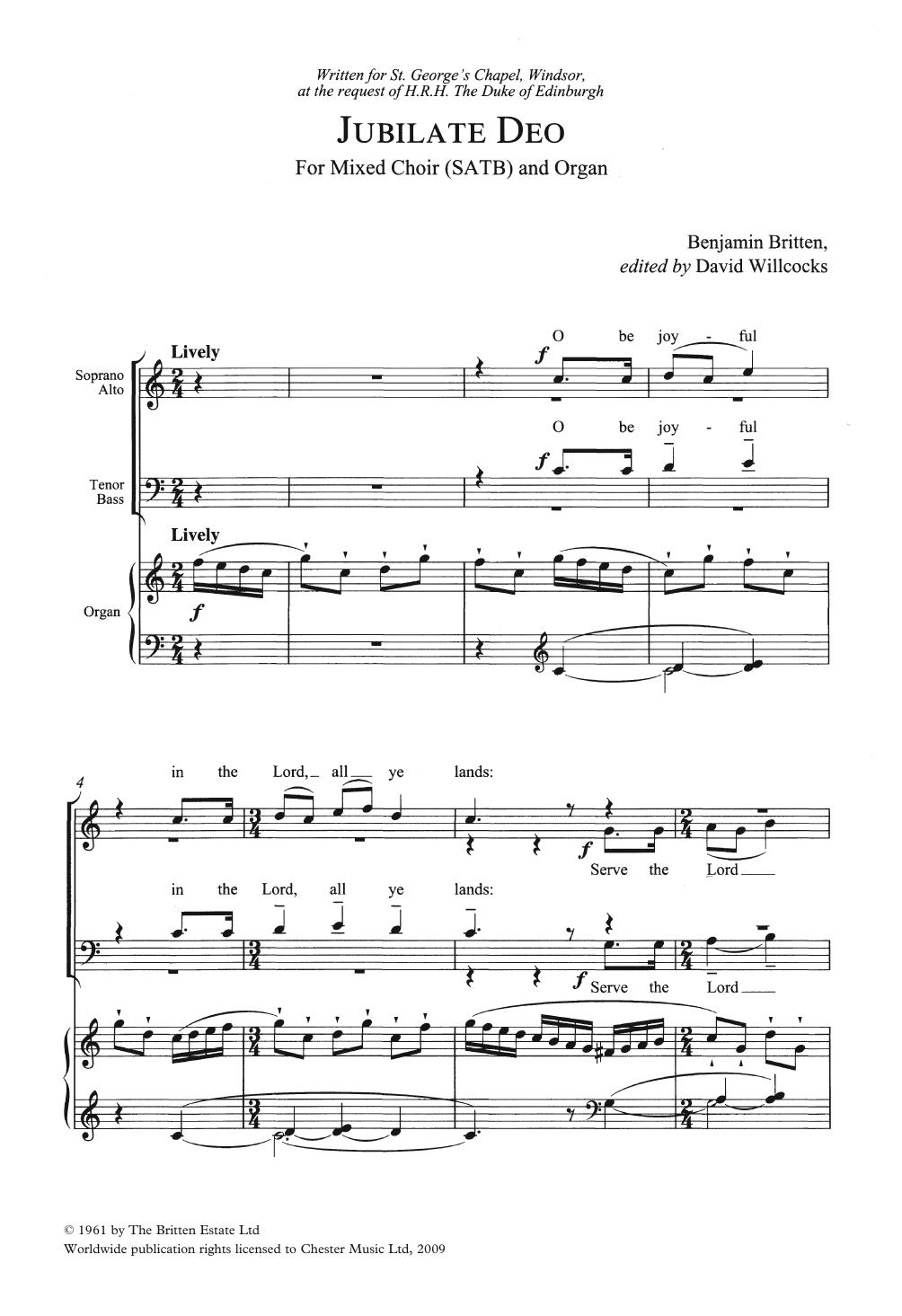 Jubilate Deo In C Major Sheet Music