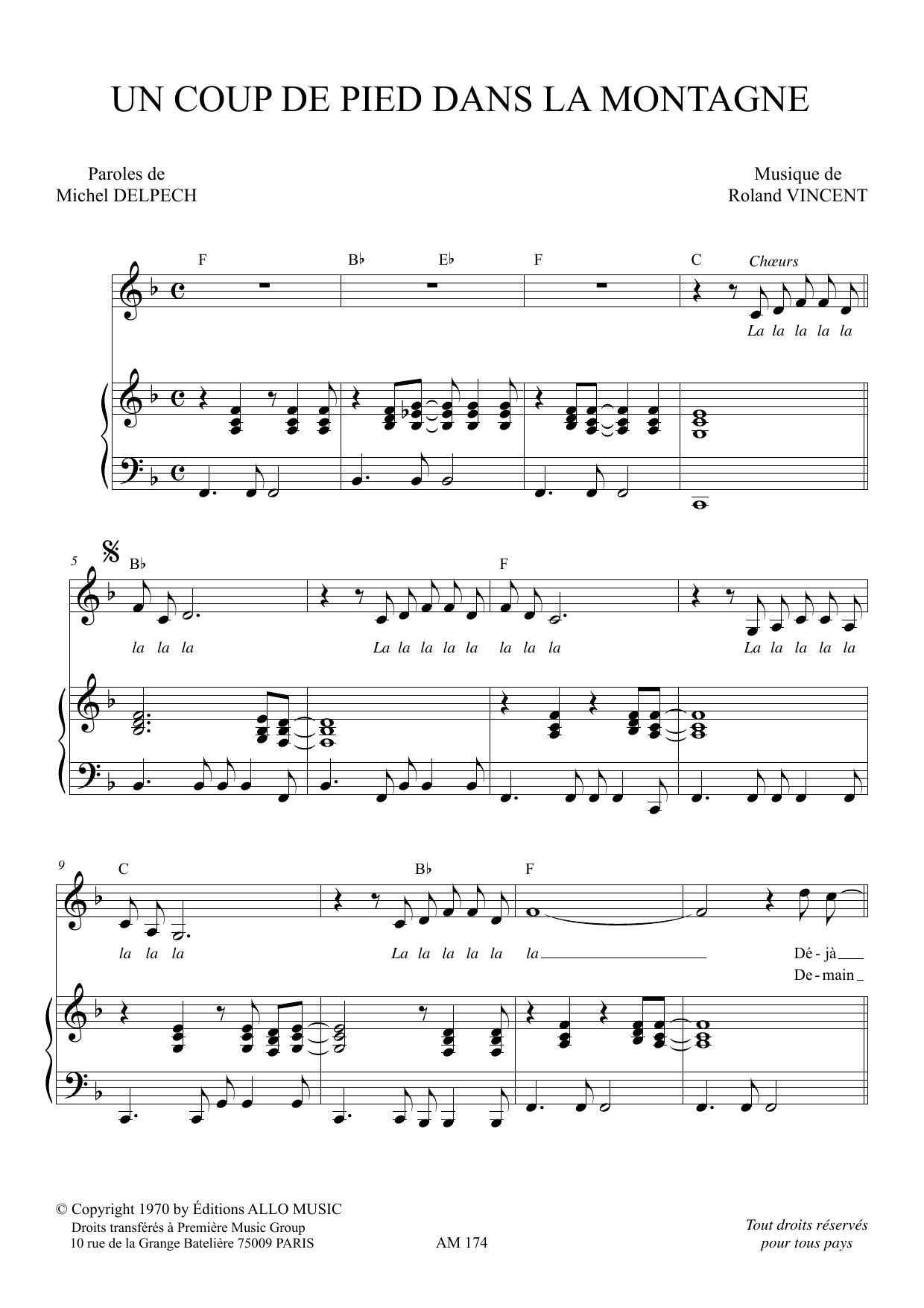 Un Coup De Pied Dans La Montagne Sheet Music