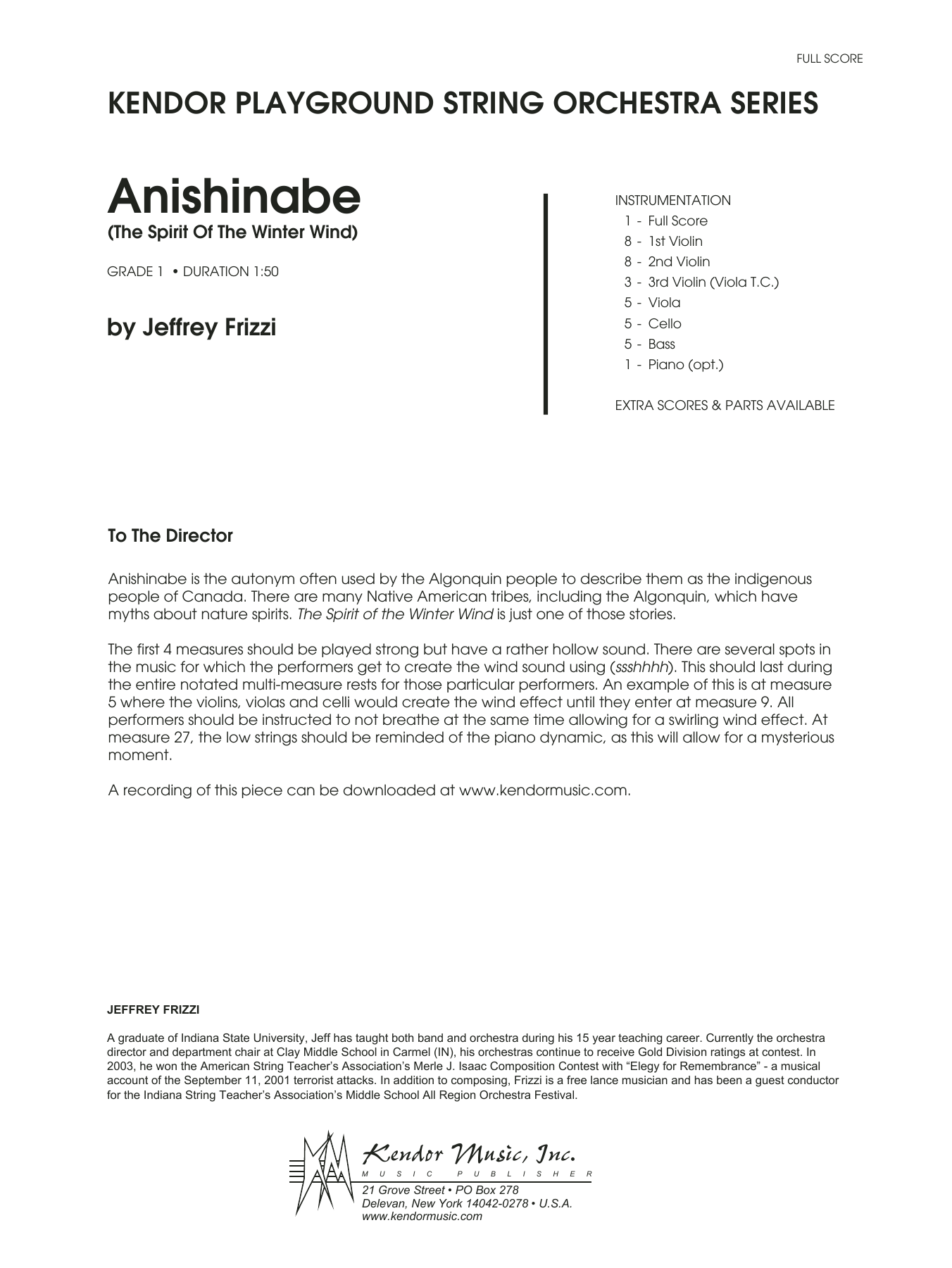 Anishinabe (The Spirit Of The Winter Wind) (COMPLETE) sheet music for orchestra by Jeffrey Frizzi. Score Image Preview.