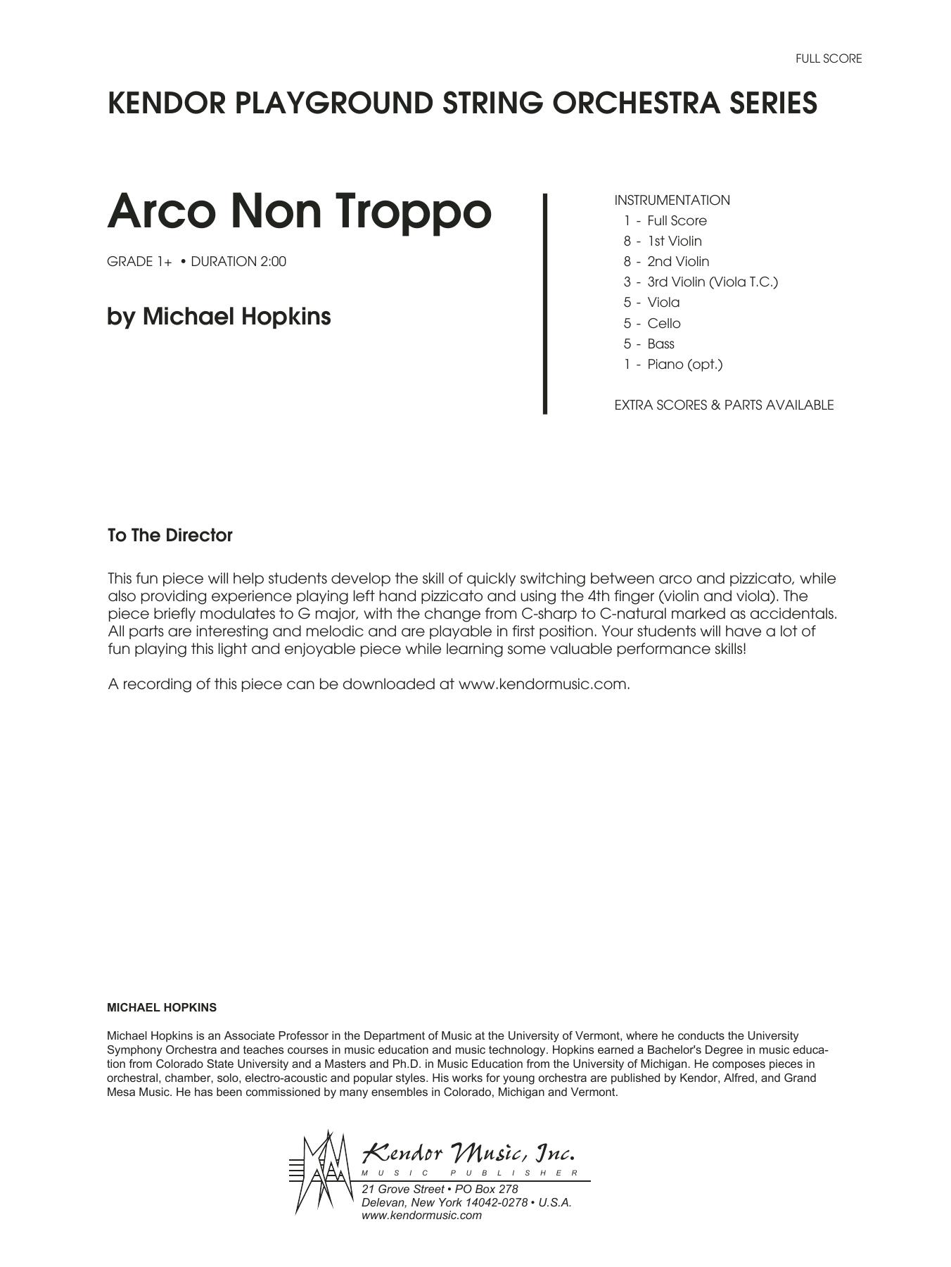 Arco Non Troppo (COMPLETE) sheet music for orchestra by Deborah Baker Monday and Hopkins. Score Image Preview.