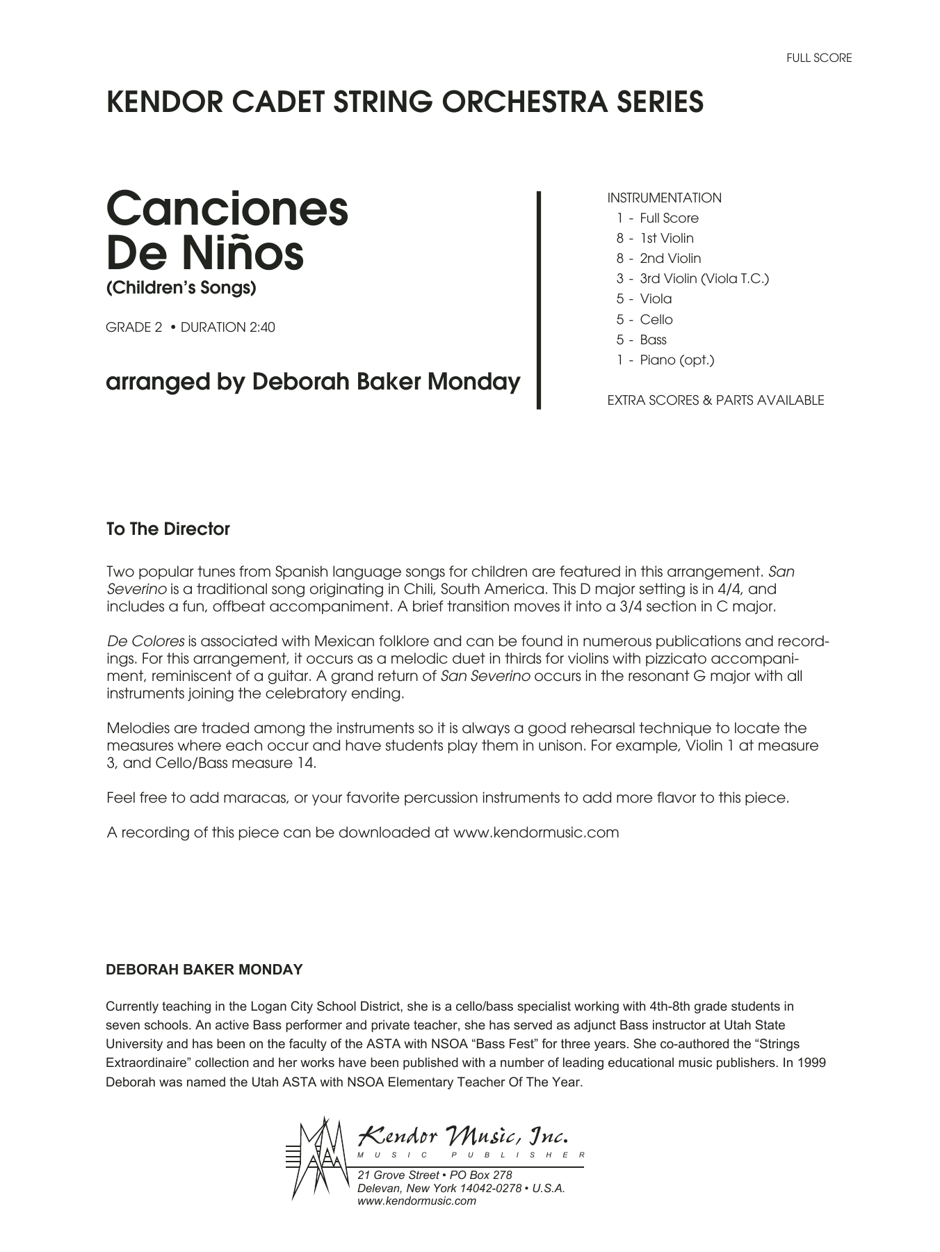 Canciones De Ninos (COMPLETE) sheet music for orchestra by Deborah Baker Monday. Score Image Preview.