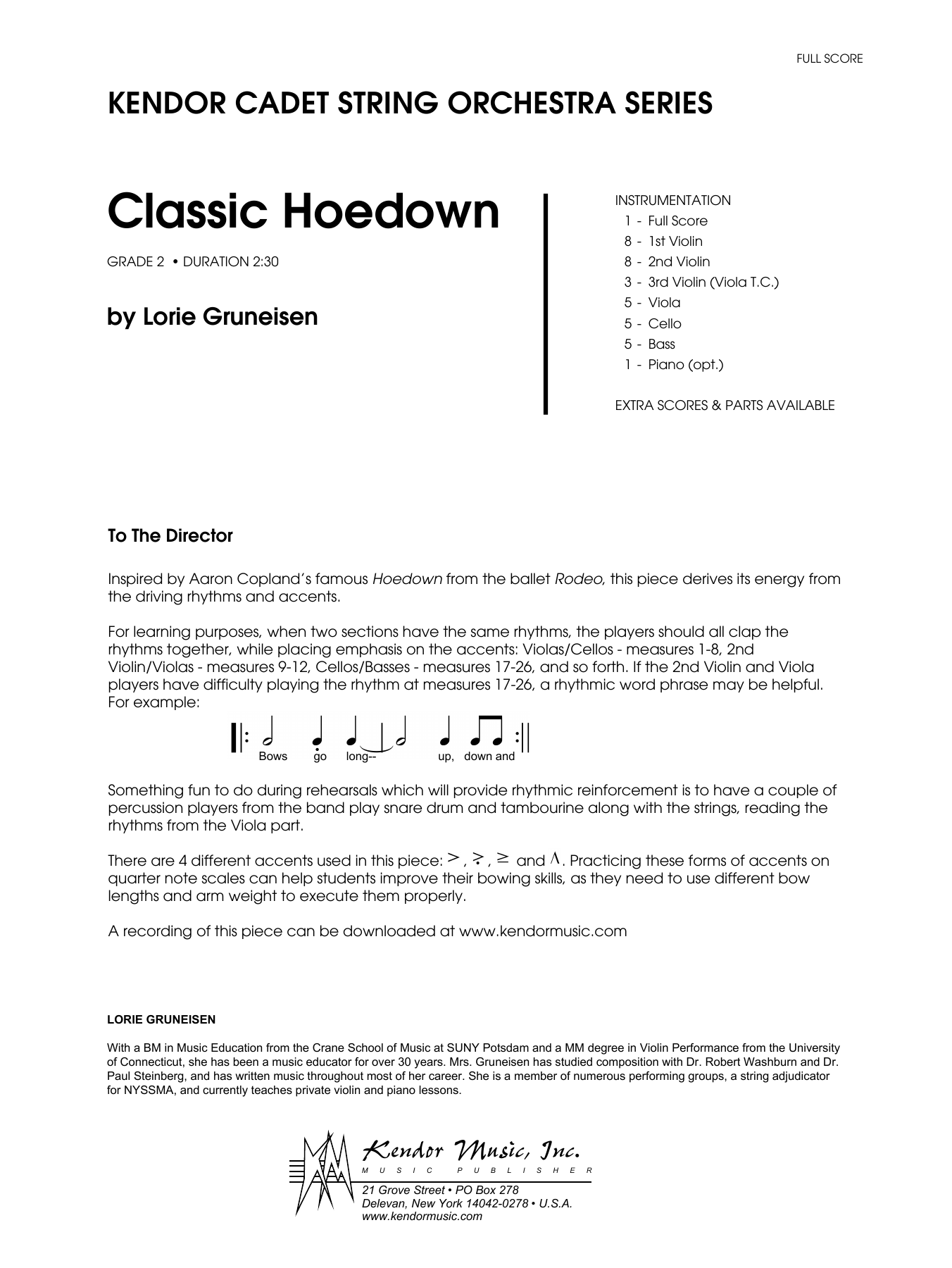 Classic Hoedown (COMPLETE) sheet music for orchestra by Lorie Gruneisen. Score Image Preview.