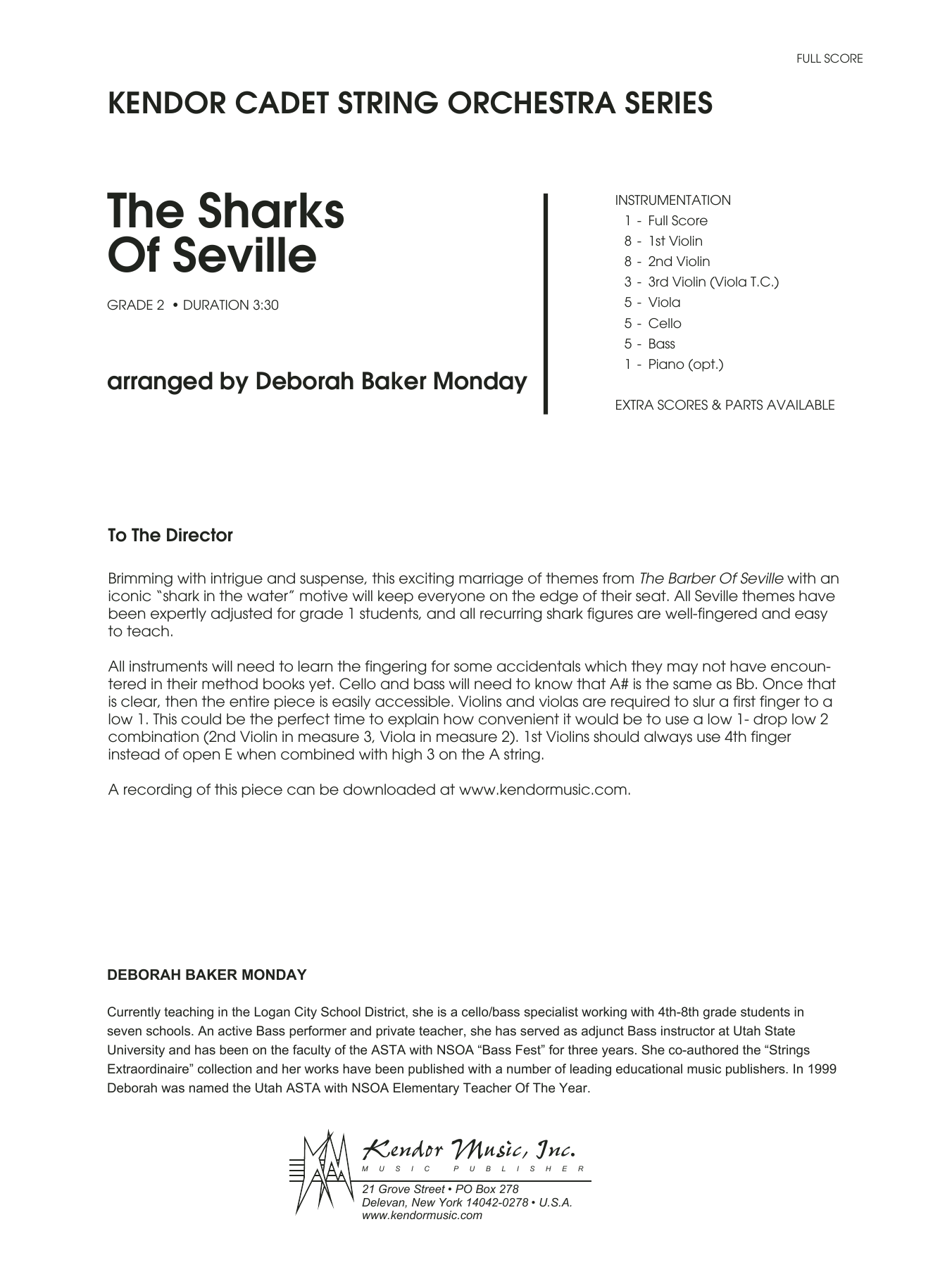 The Sharks Of Seville (COMPLETE) sheet music for orchestra by Deborah Baker Monday. Score Image Preview.
