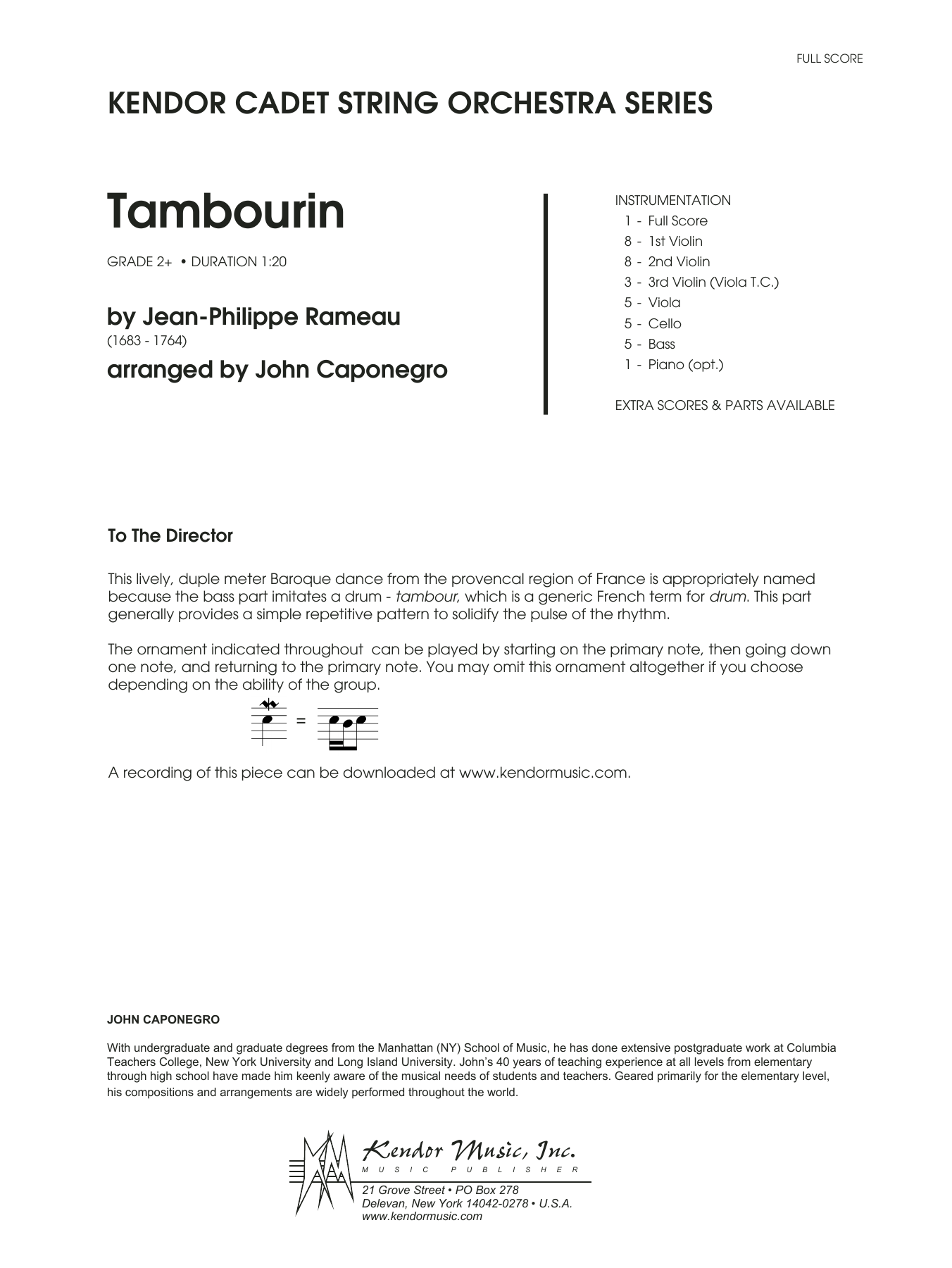 Tambourin (COMPLETE) sheet music for orchestra by John Caponegro. Score Image Preview.