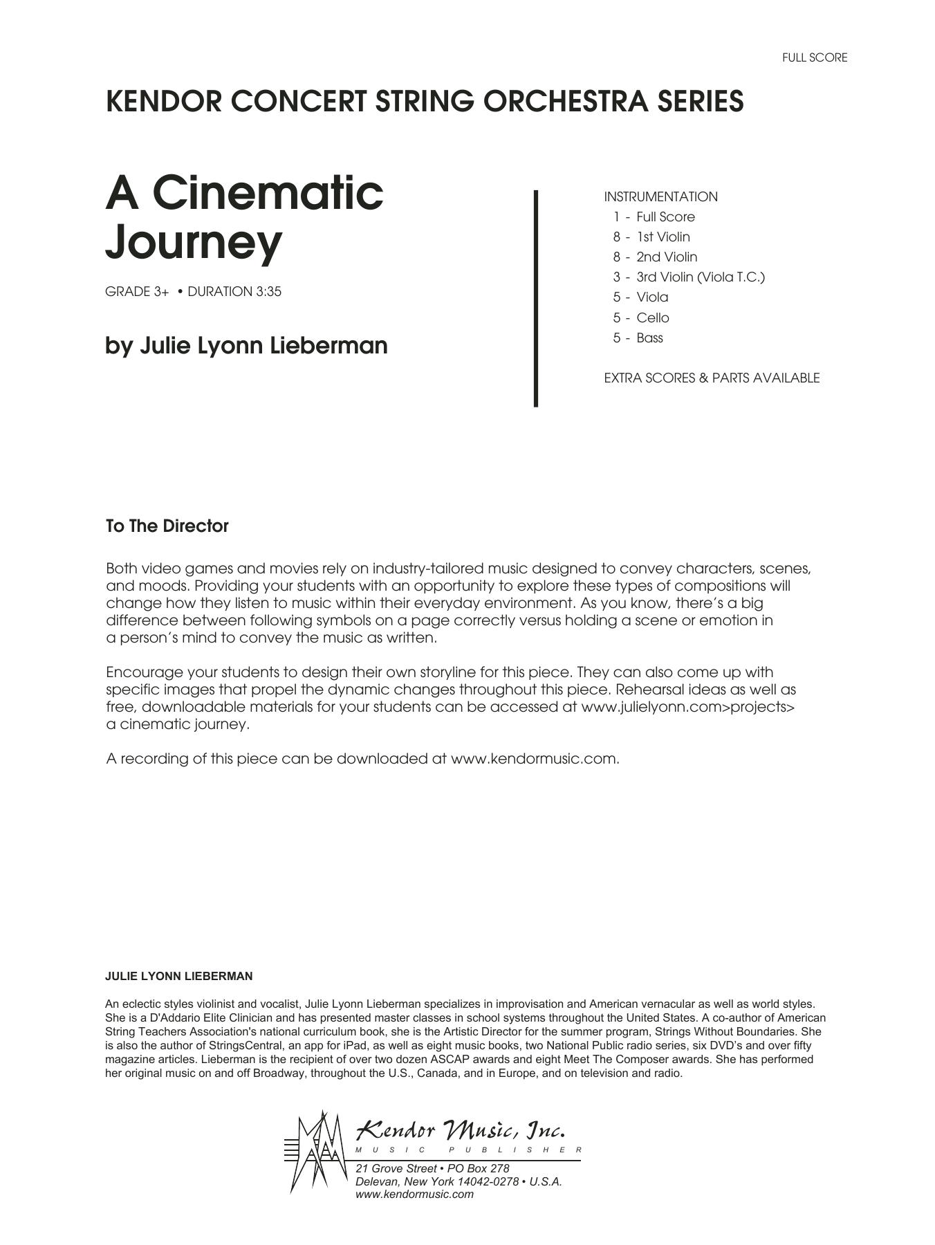 A Cinematic Journey (COMPLETE) sheet music for orchestra by Julie Lyonn Lieberman. Score Image Preview.