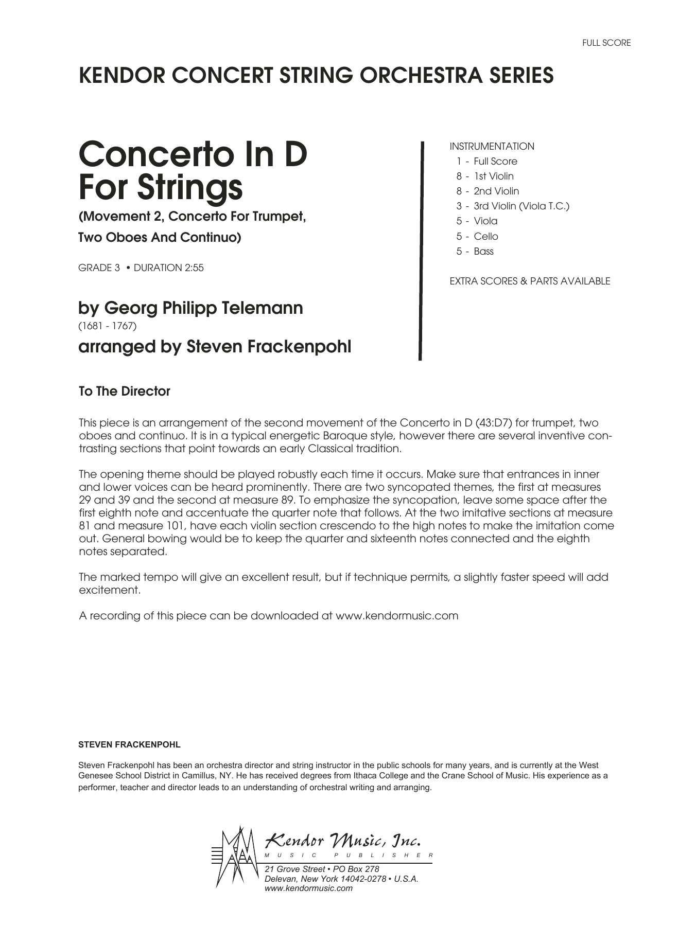 Concerto In D For Strings (Mov II Concerto For Trumpet, 2 Oboes and Continuo) (COMPLETE) sheet music for orchestra by Georg Philipp Telemann and Steve Frackenpohl. Score Image Preview.