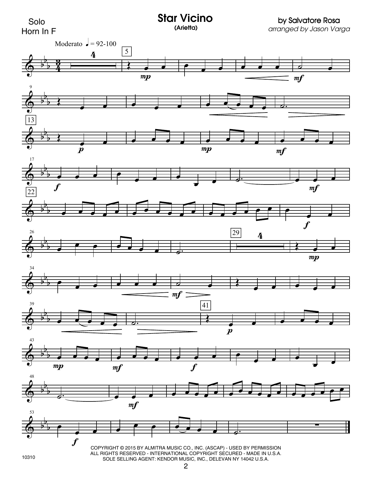 Kendor Debut Solos - Horn in F Sheet Music