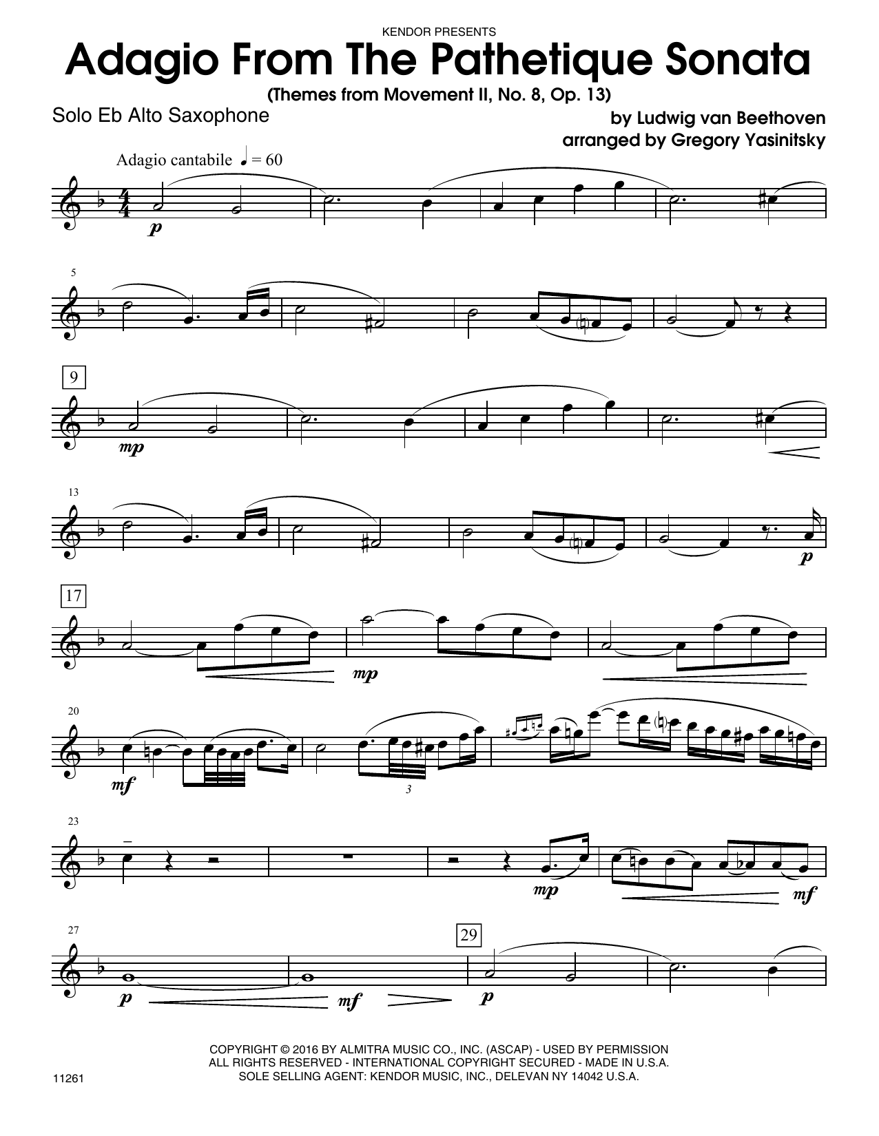Adagio From The Pathetique Sonata (Themes From Movement II, No. 8, Op. 13) (complete set of parts) sheet music for alto saxophone and piano by Ludwig van Beethoven and Yasinitsky. Score Image Preview.