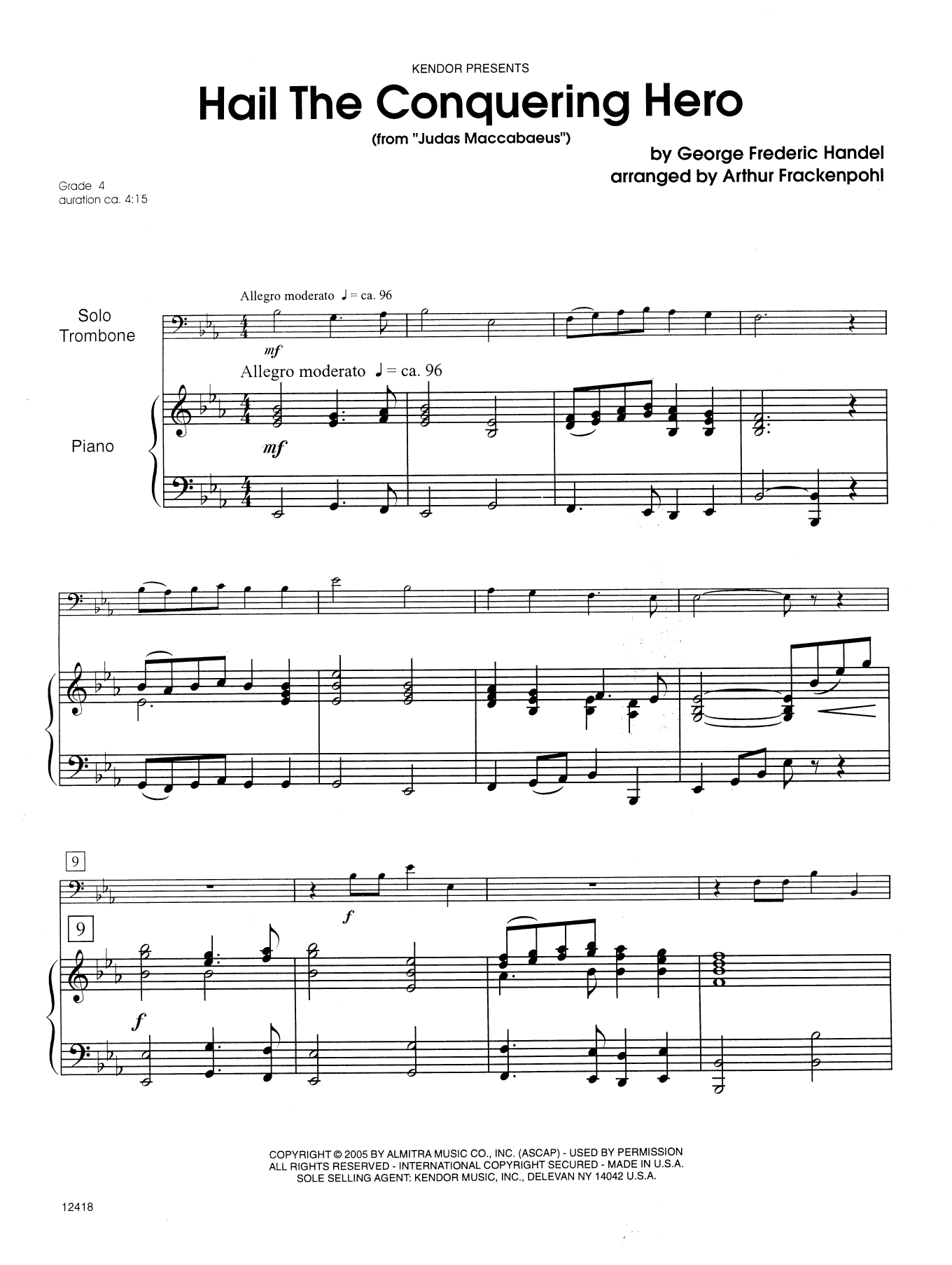 Hail The Conquering Hero (complete set of parts) sheet music for trombone and piano by Steve Frackenpohl and George Frideric Handel. Score Image Preview.