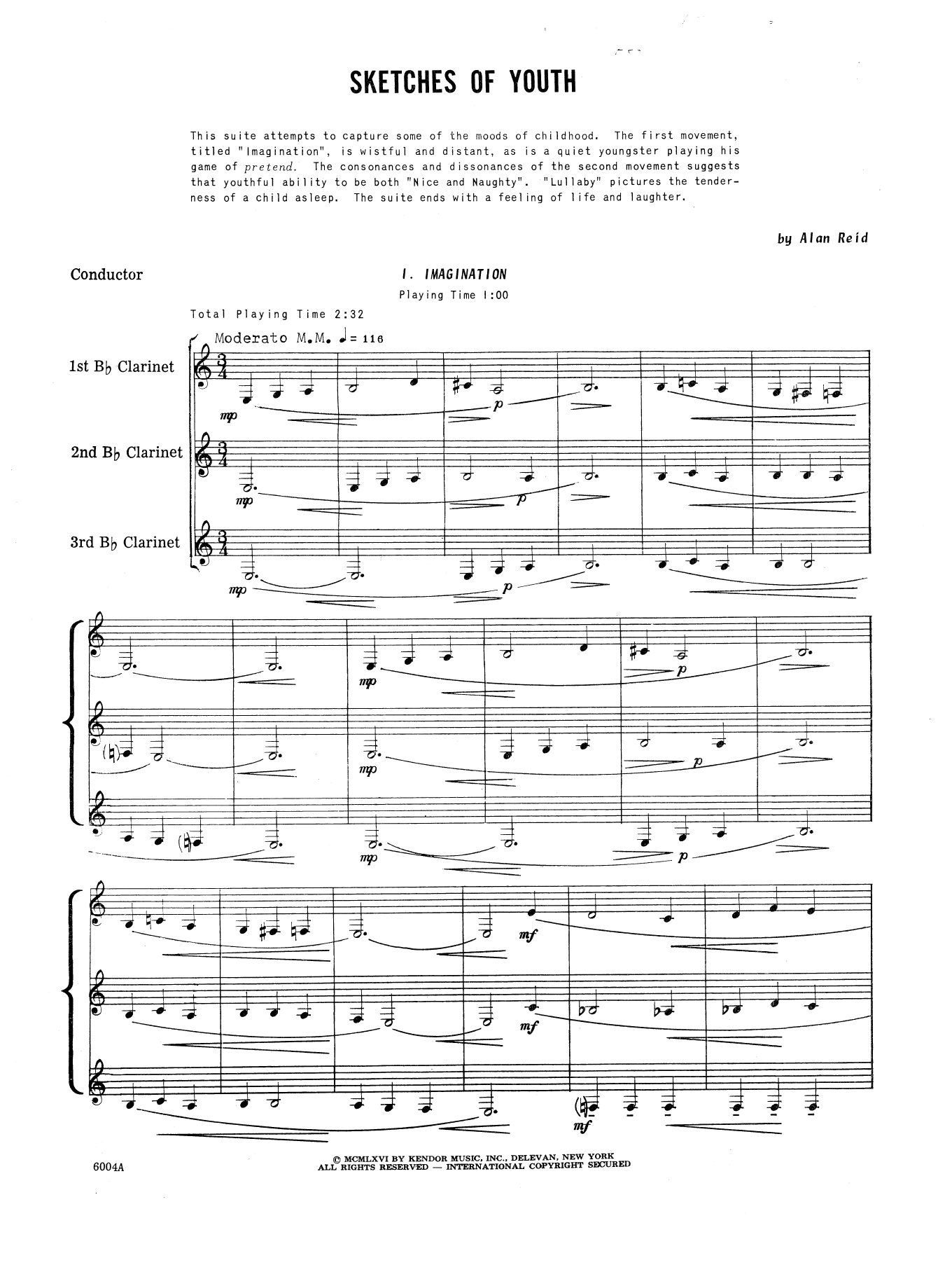 Sketches Of Youth (COMPLETE) sheet music for clarinet trio by Reid. Score Image Preview.