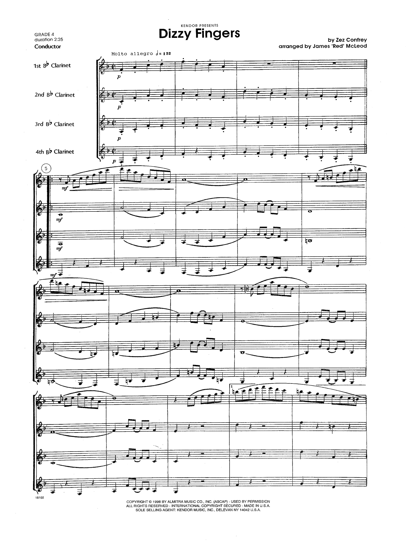 Dizzy Fingers (COMPLETE) sheet music for clarinet quartet by James