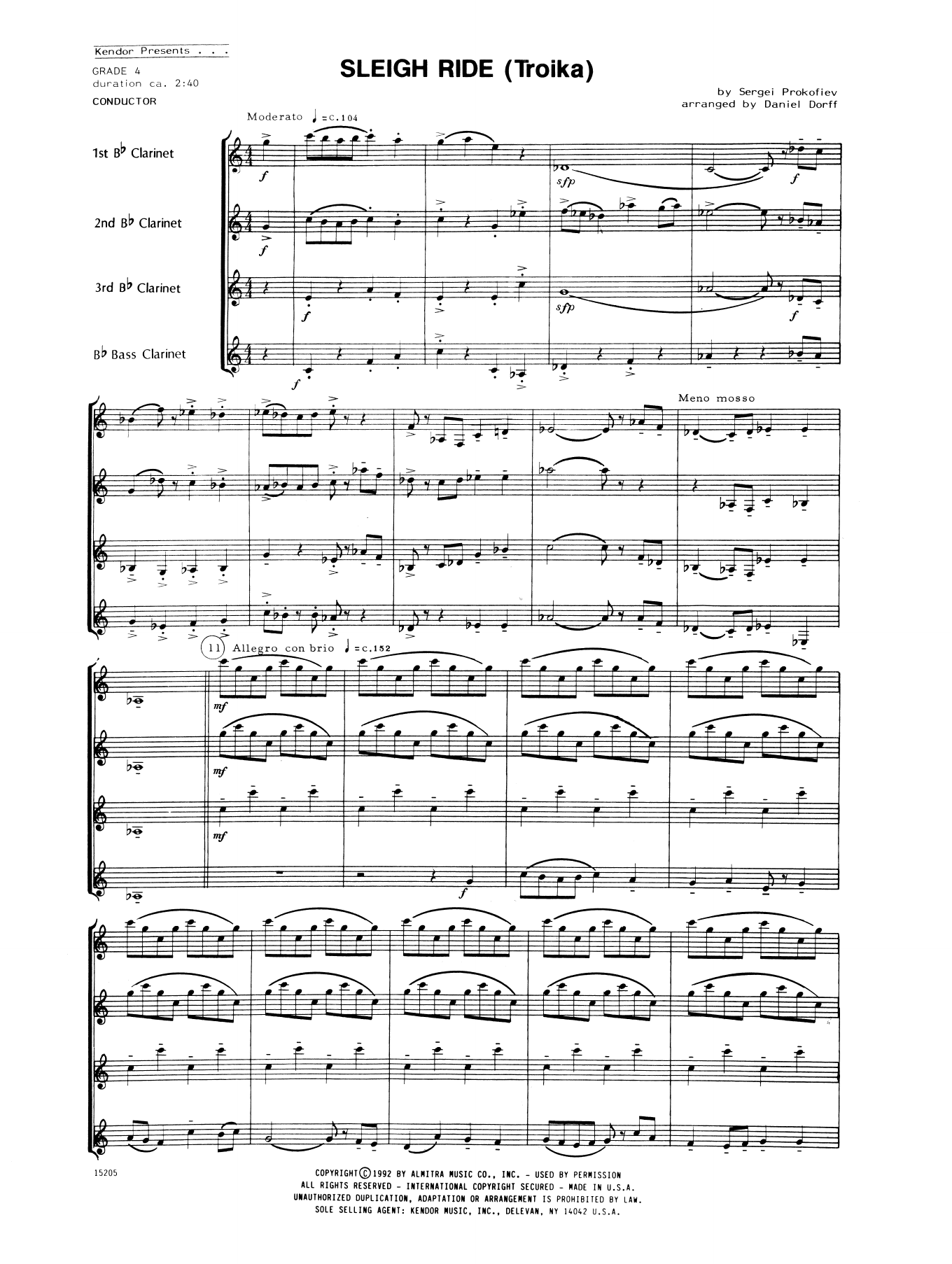 Sleigh Ride (Troika) (COMPLETE) sheet music for clarinet quartet by Daniel Dorff and Prokofiev. Score Image Preview.