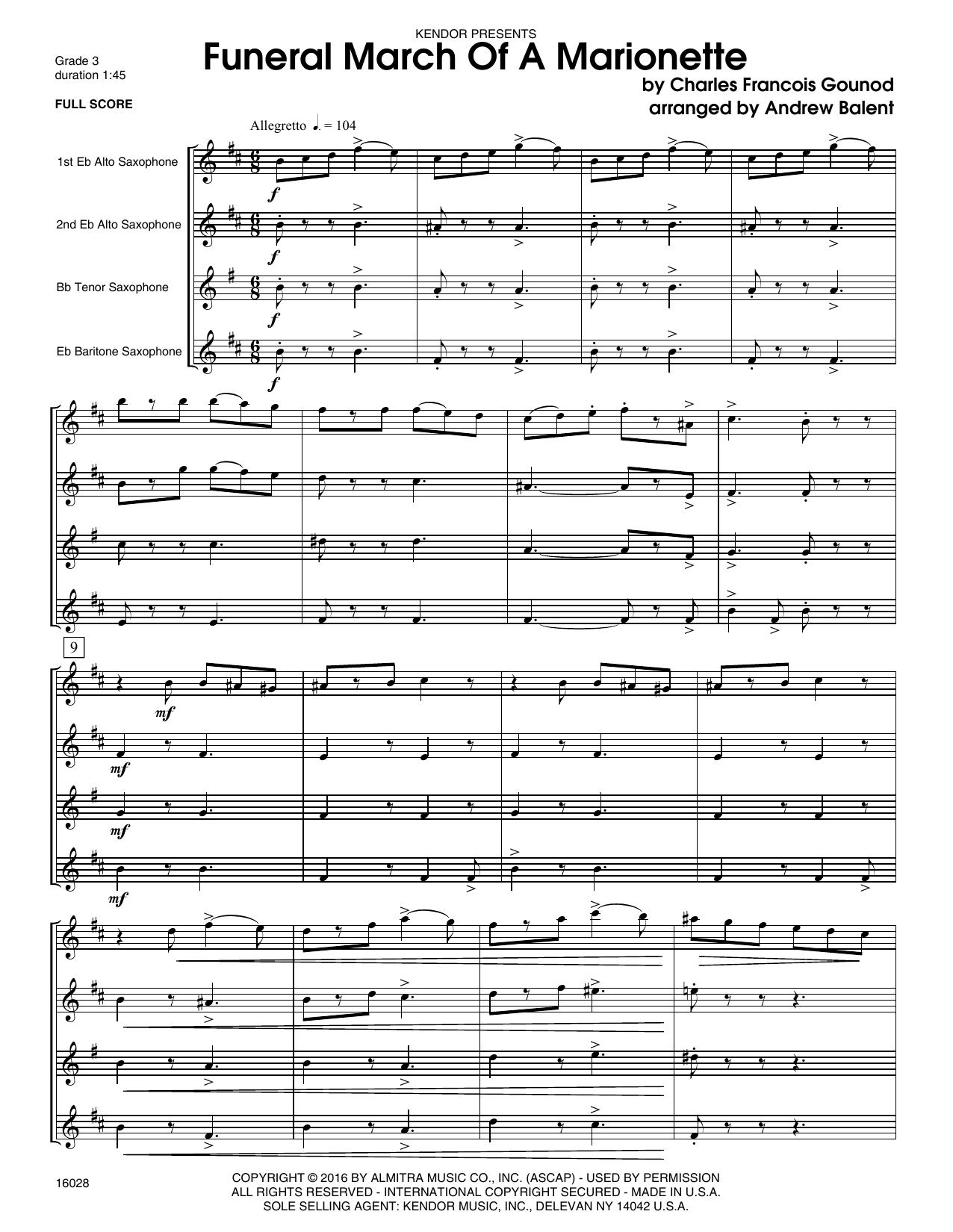 Funeral March Of A Marionette (COMPLETE) sheet music for saxophone quartet by Balent and Charles Gounod. Score Image Preview.