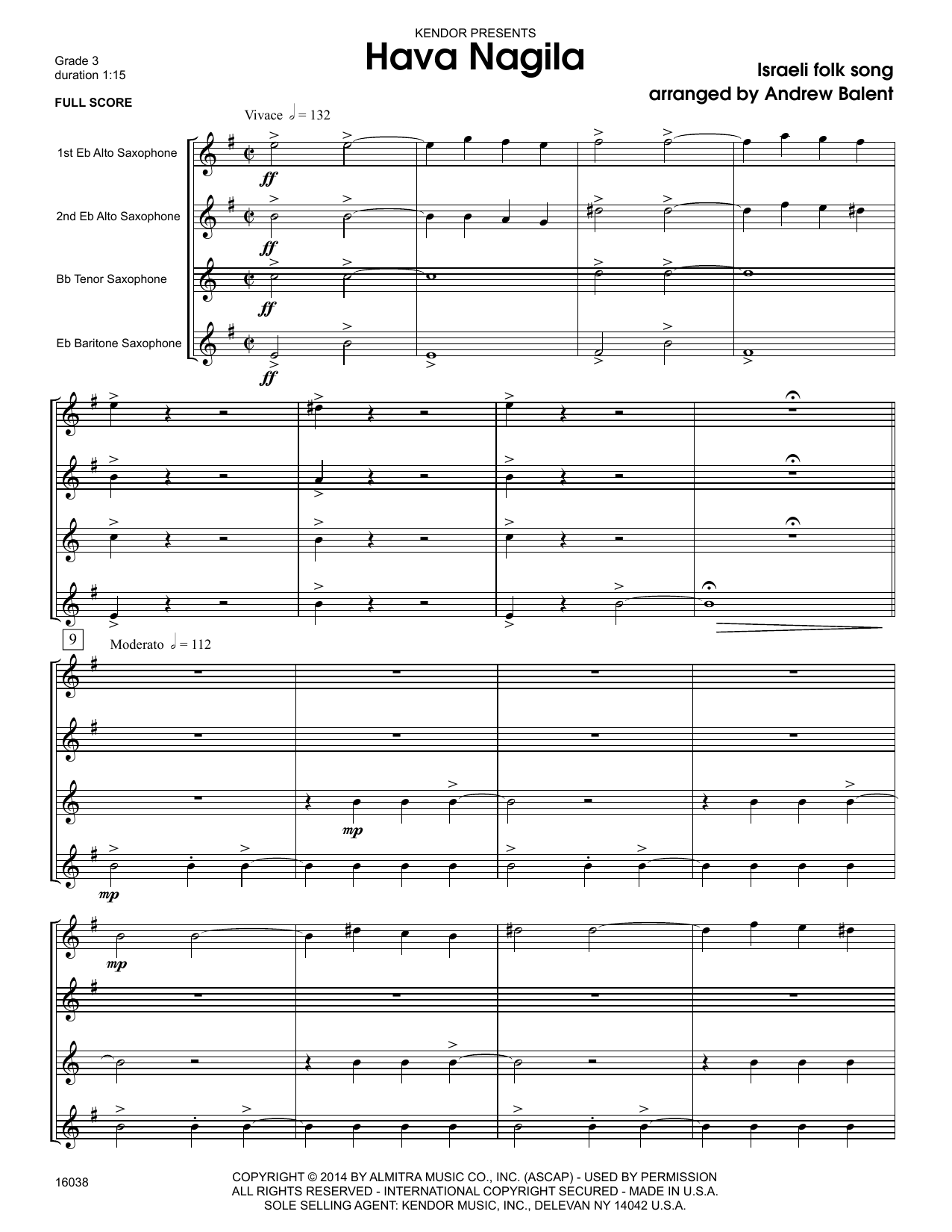 Hava Nagila (COMPLETE) sheet music for saxophone quartet by Andrew Balent. Score Image Preview.
