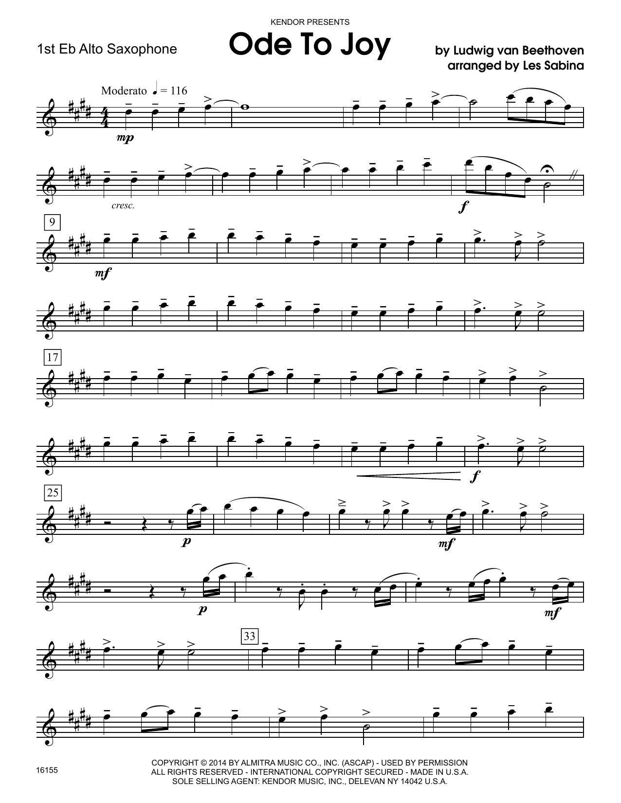Ode To Joy - 1st Eb Alto Saxophone Sheet Music