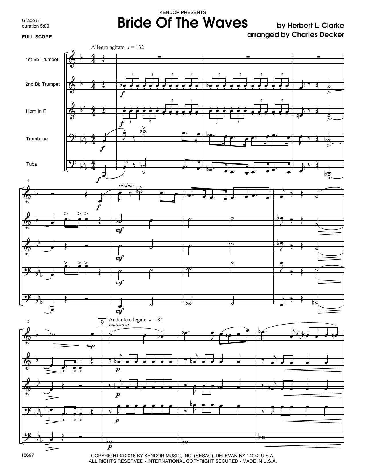 Bride Of The Waves (COMPLETE) sheet music for brass ensemble by Decker and CLARKE. Score Image Preview.