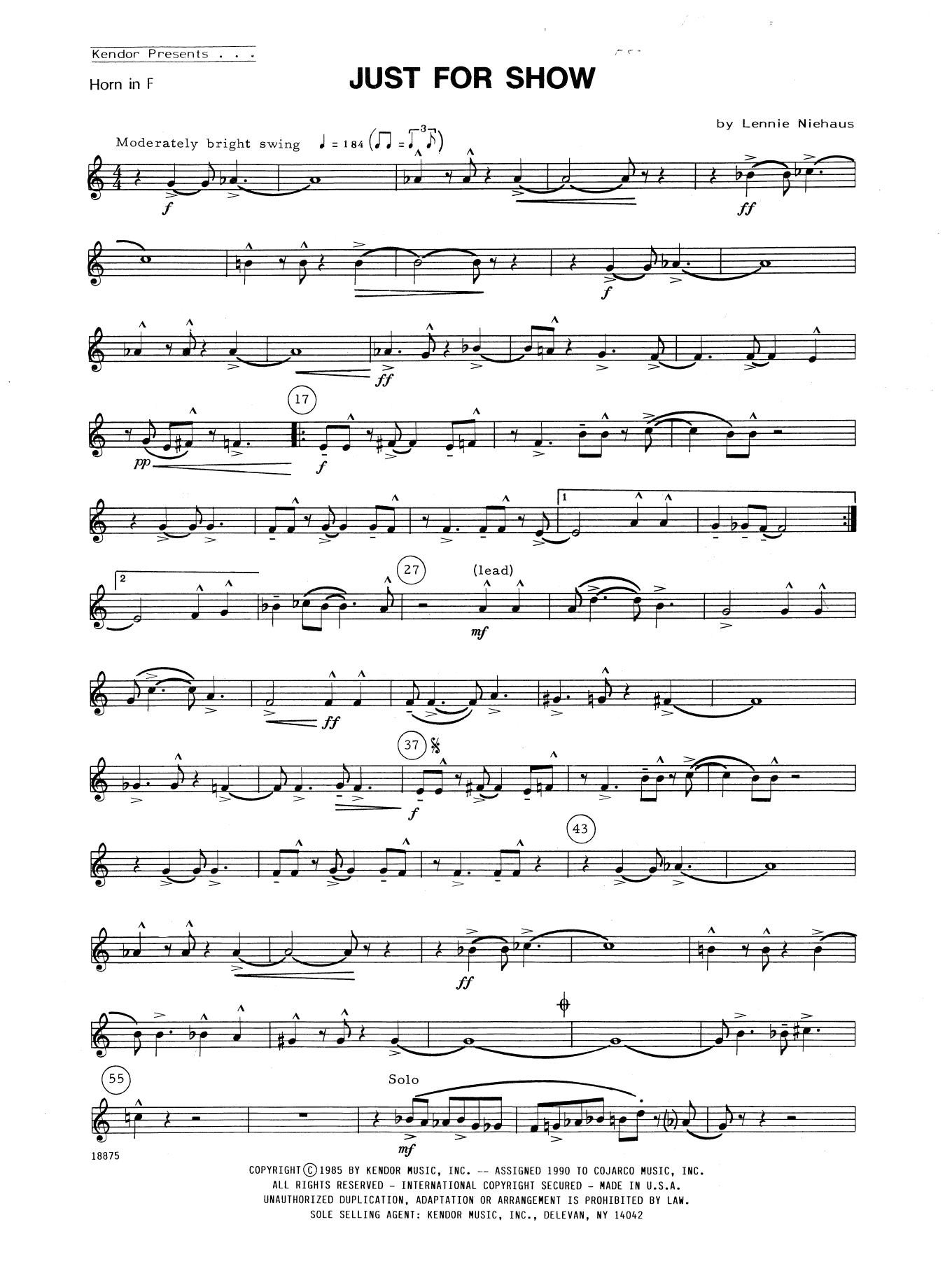 Just For Show - Horn in F Sheet Music