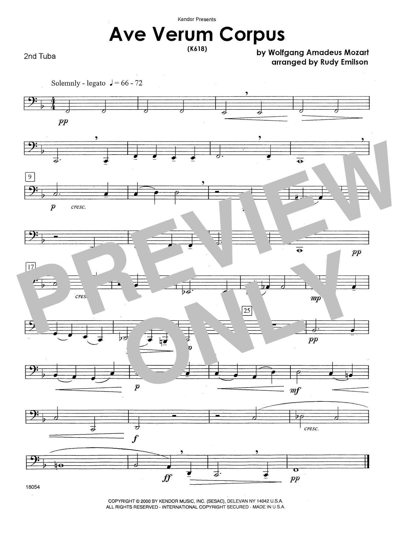 Ave Verum Corpus (K618) - Tuba 2 Sheet Music