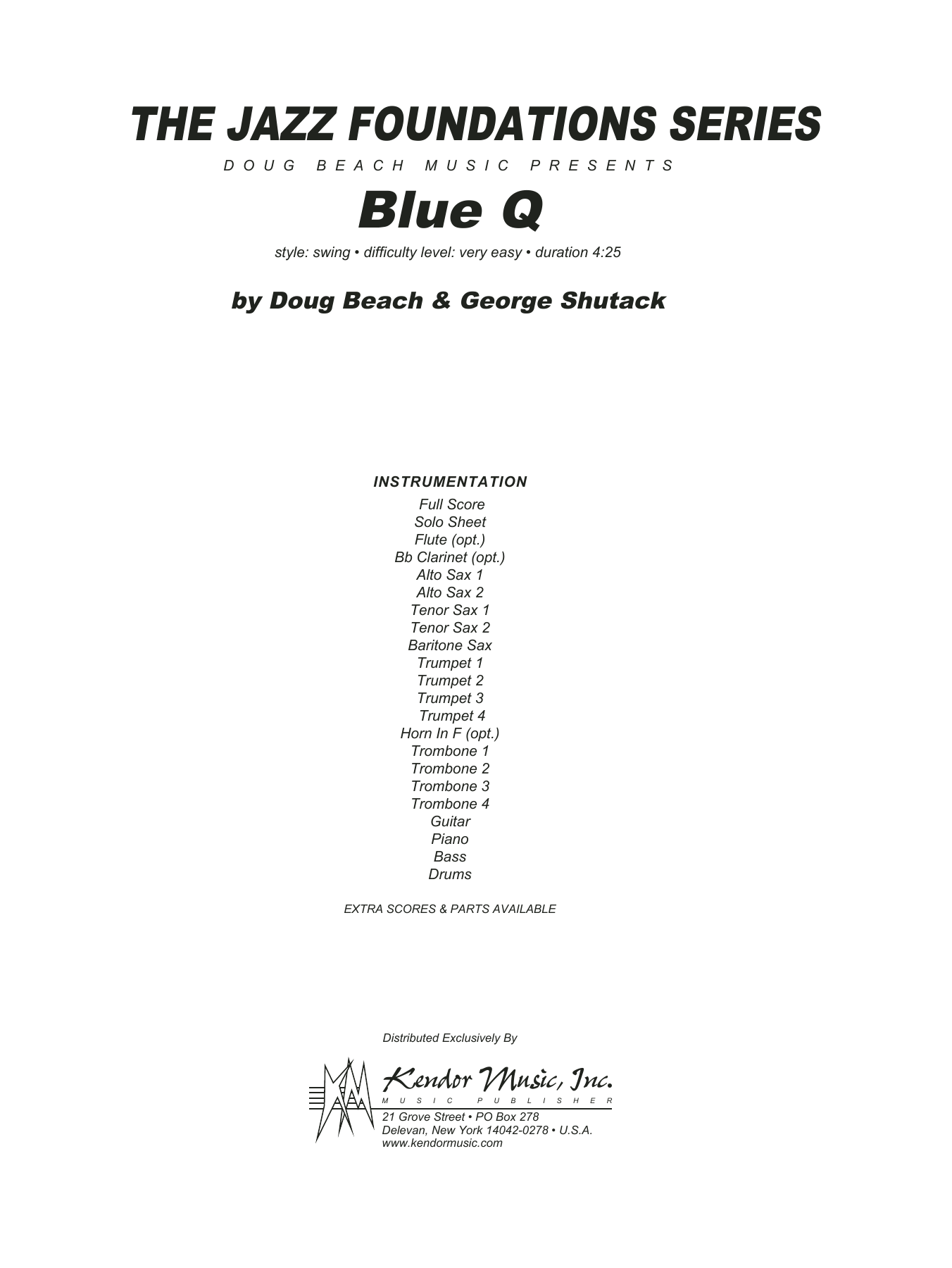Blue Q (COMPLETE) sheet music for jazz band by Doug Beach and George Shutack. Score Image Preview.