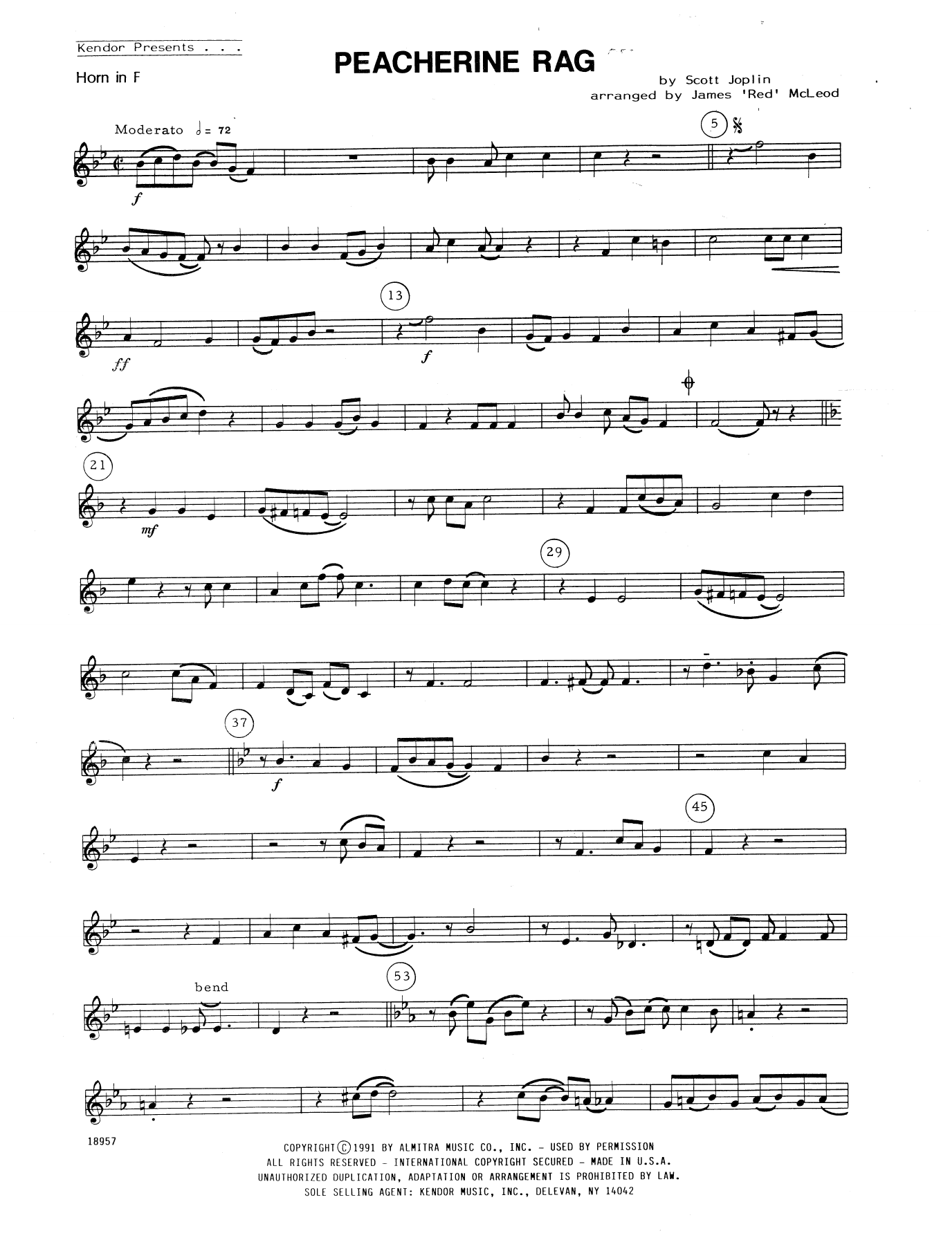Peacherine Rag - Horn in F Sheet Music