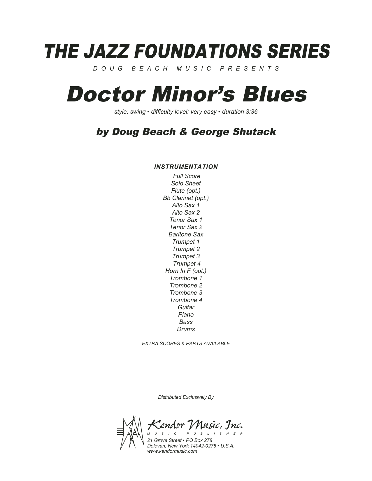 Doctor Minor's Blues (COMPLETE) sheet music for jazz band by Shutack and Beach. Score Image Preview.