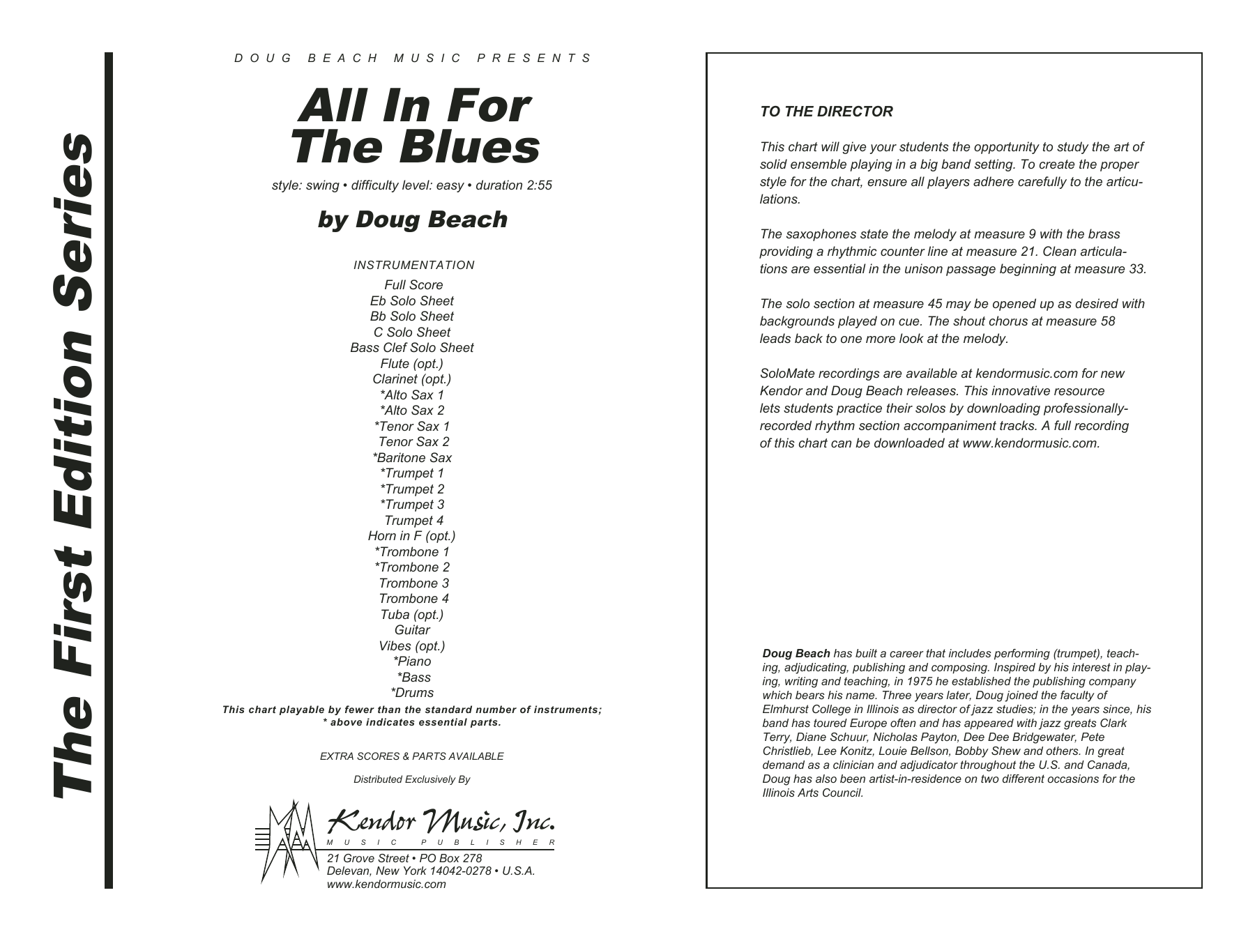 All In For The Blues (COMPLETE) sheet music for jazz band by Doug Beach. Score Image Preview.