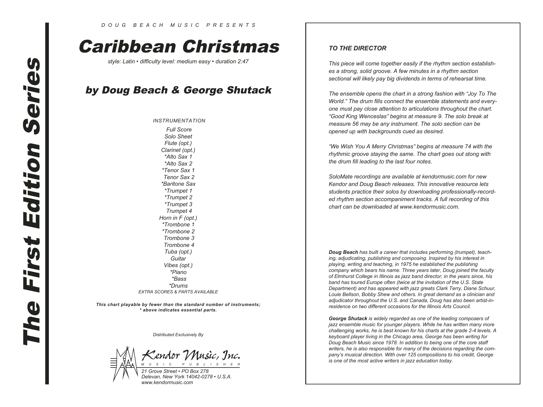 Caribbean Christmas (COMPLETE) sheet music for jazz band by Doug Beach and George Shutack. Score Image Preview.