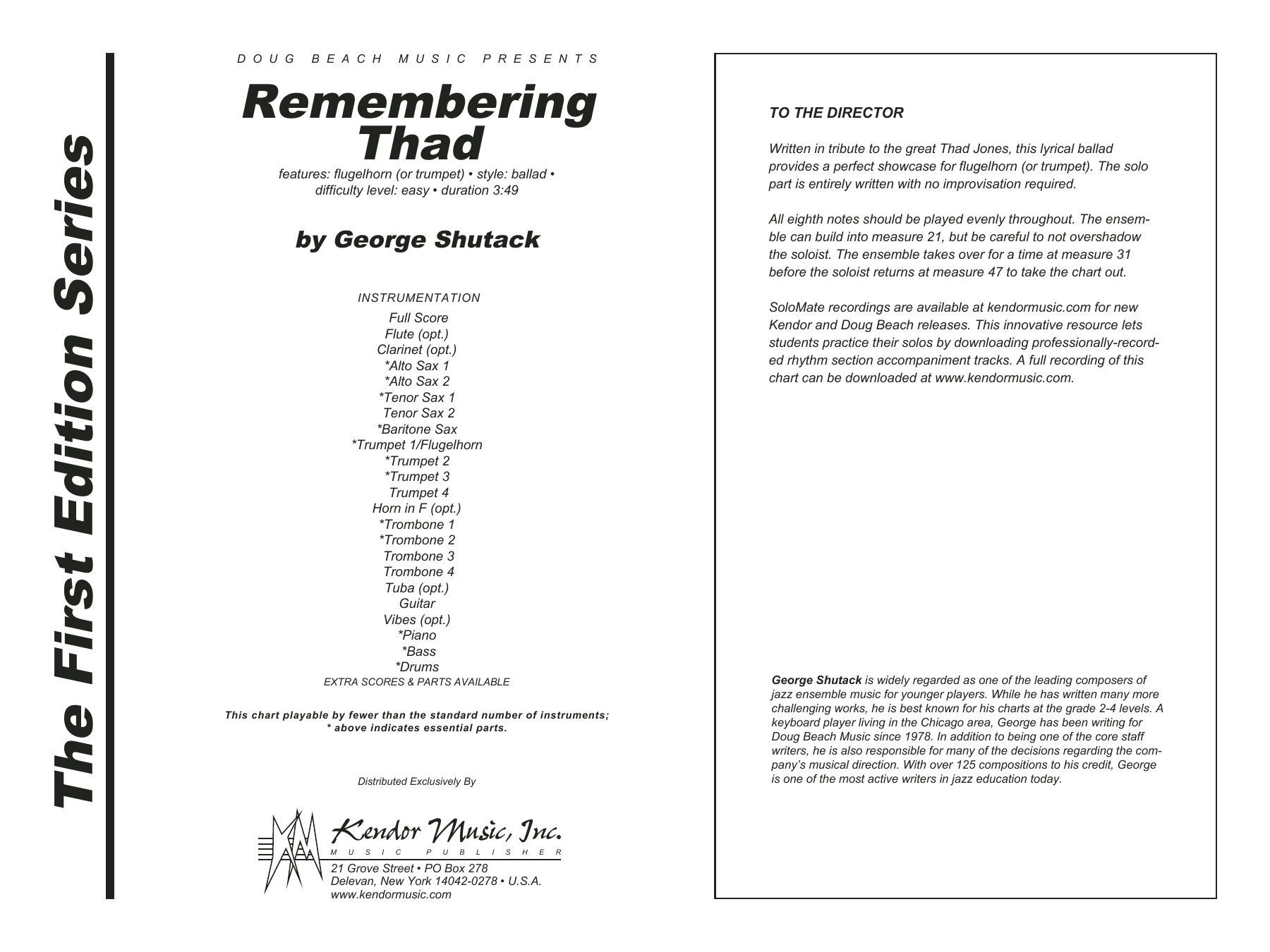 Remembering Thad (COMPLETE) sheet music for jazz band by George Shutack. Score Image Preview.