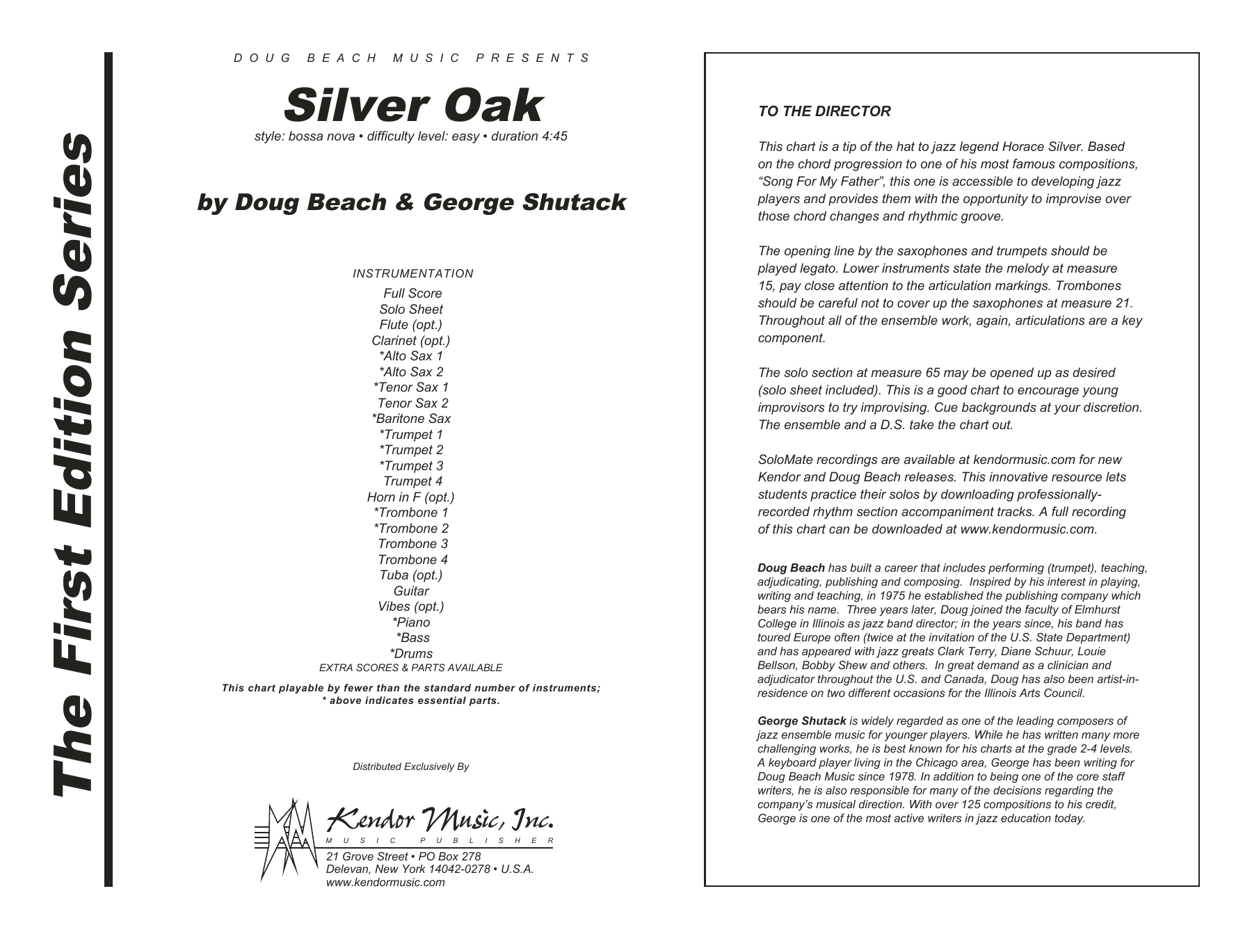 Silver Oak (COMPLETE) sheet music for jazz band by Beach and Shutack. Score Image Preview.