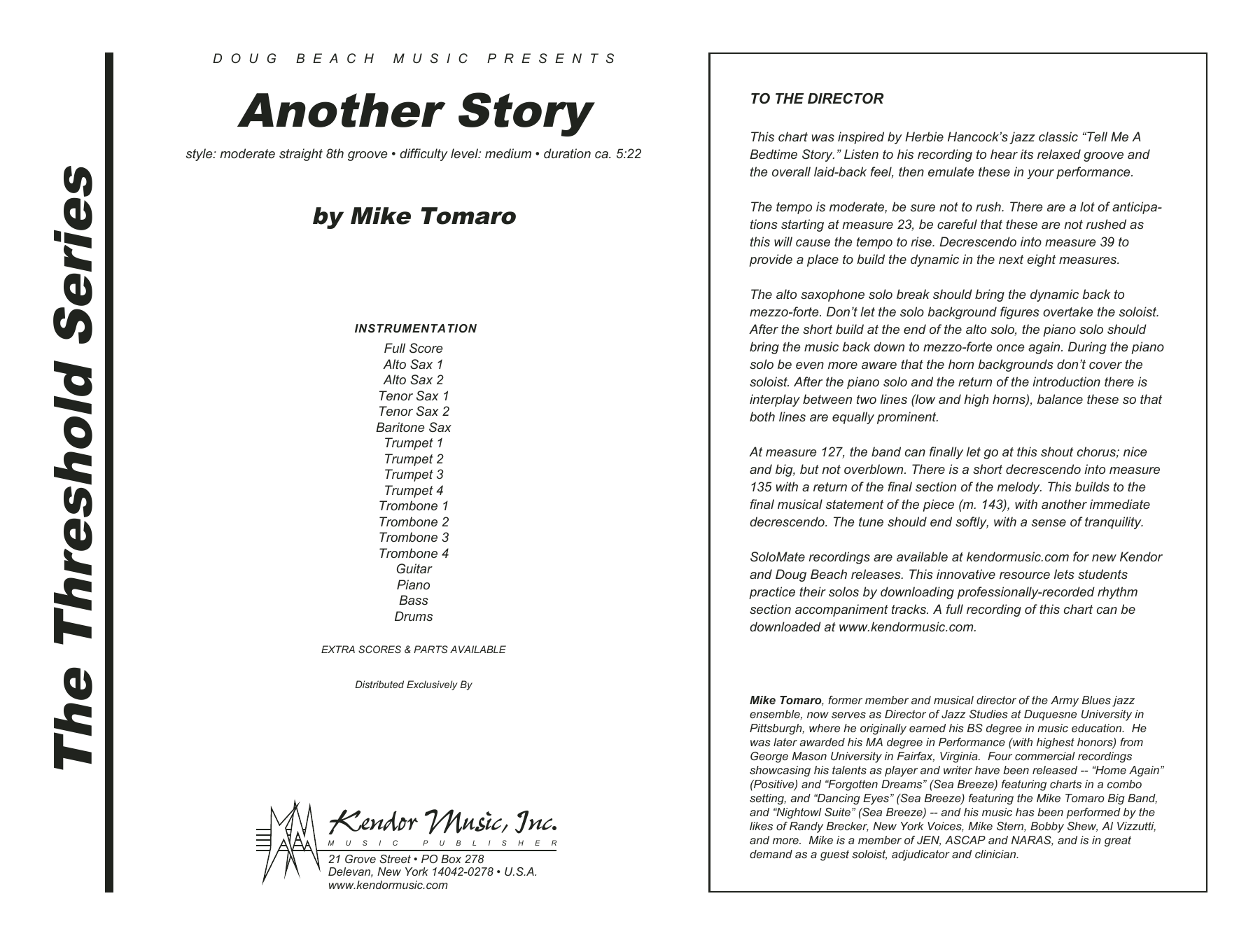 Another Story (COMPLETE) sheet music for jazz band by Mike Tomaro. Score Image Preview.