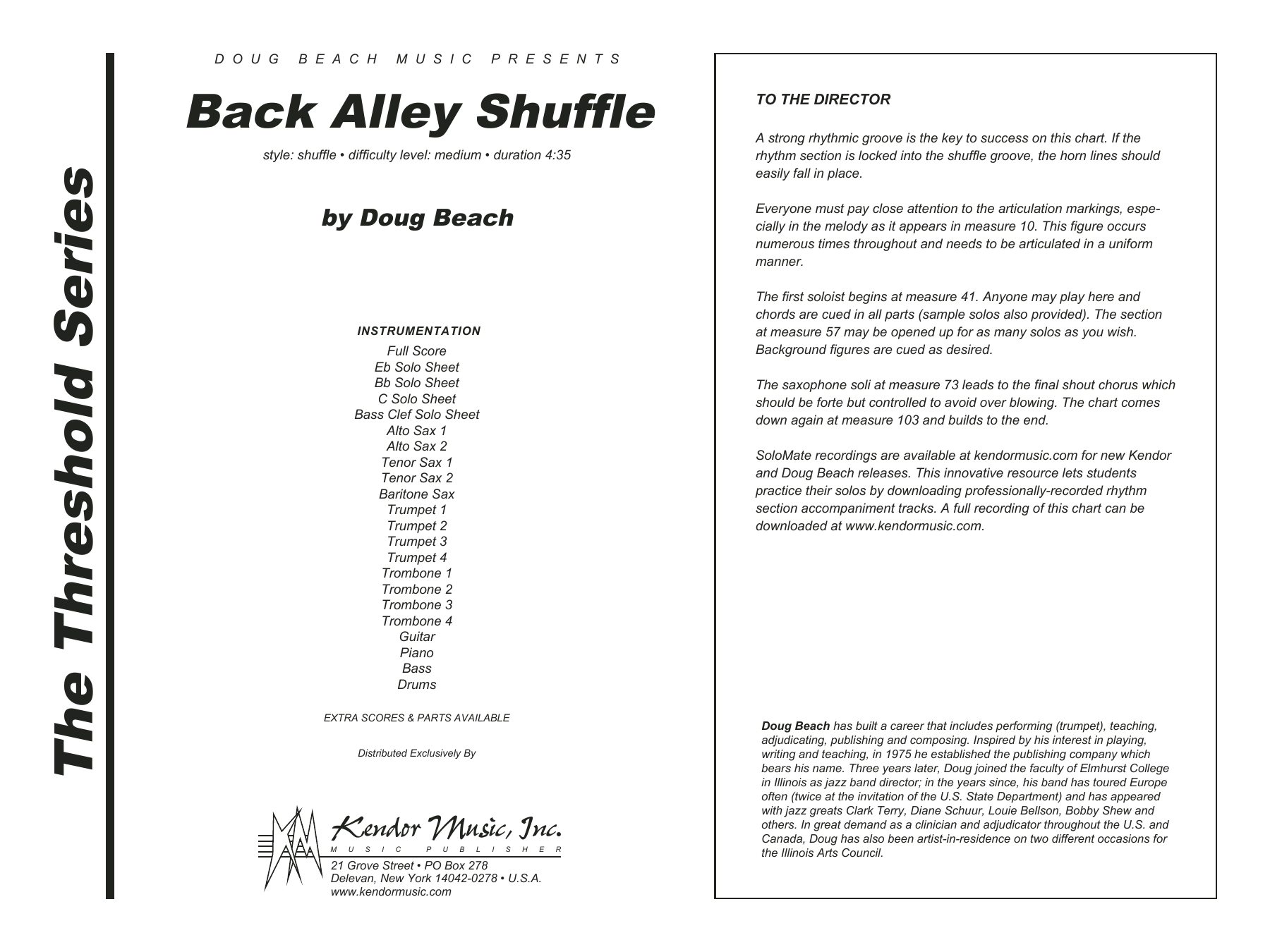 Back Alley Shuffle (COMPLETE) sheet music for jazz band by Doug Beach. Score Image Preview.