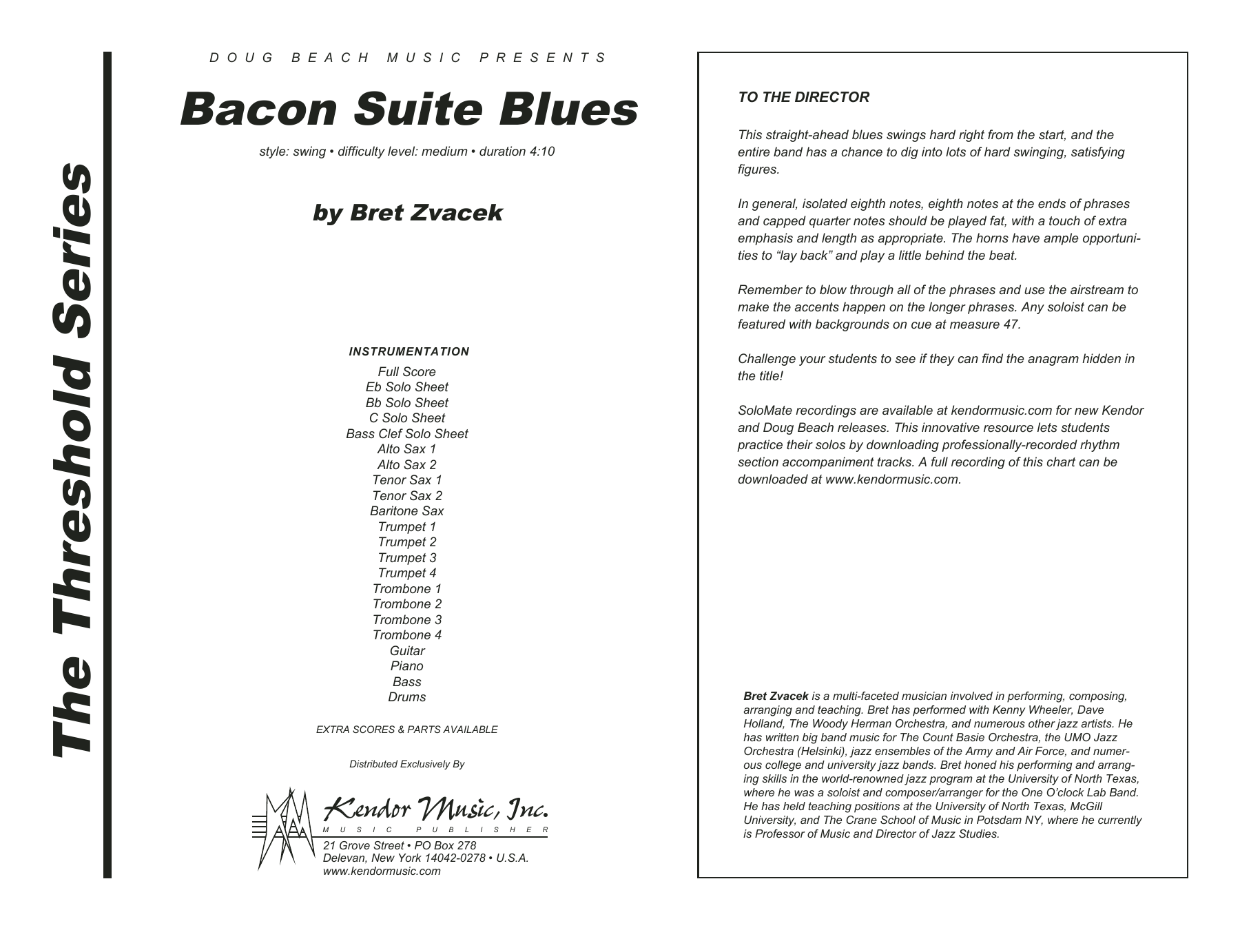 Bacon Suite Blues (COMPLETE) sheet music for jazz band by Zvacek. Score Image Preview.