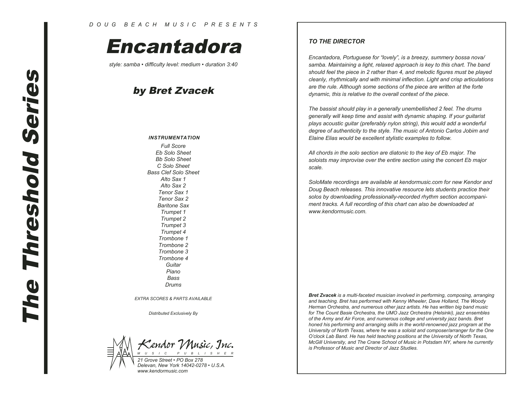 Encantadora (COMPLETE) sheet music for jazz band by Bret Zvacek. Score Image Preview.