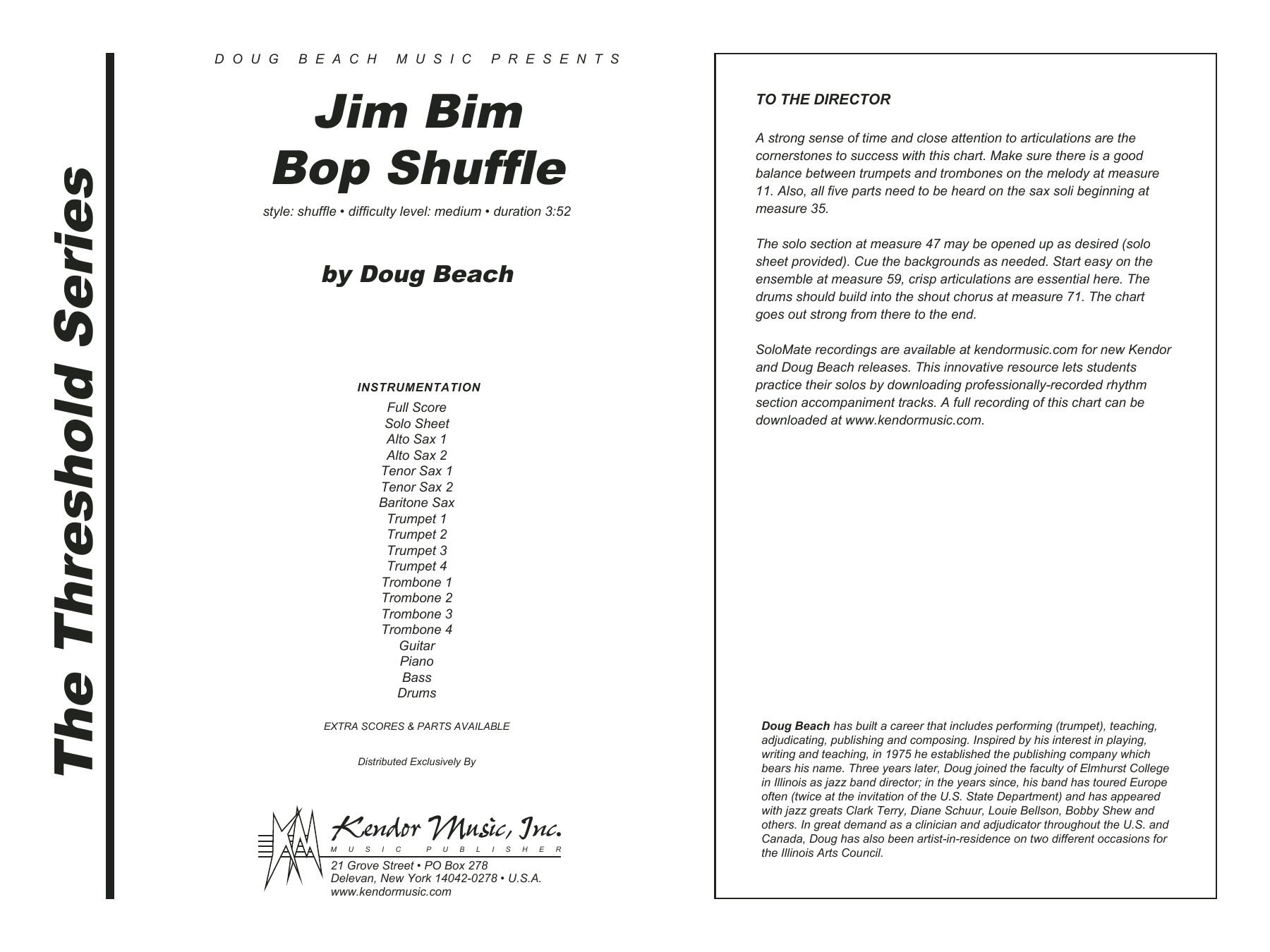Jim Bim Bop Shuffle (COMPLETE) sheet music for jazz band by Beach. Score Image Preview.