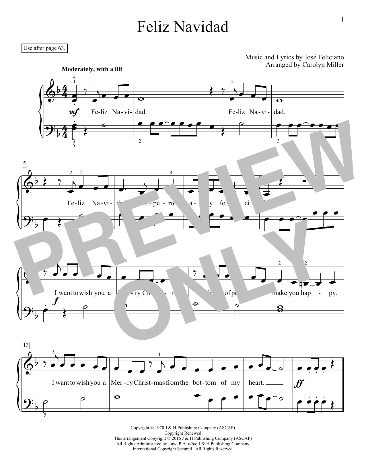 Feliz Navidad Sheet Music