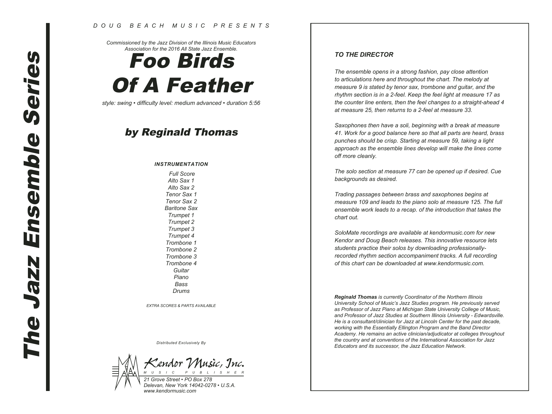 Foo Birds Of A Feather (COMPLETE) sheet music for jazz band by Reginald Thomas. Score Image Preview.