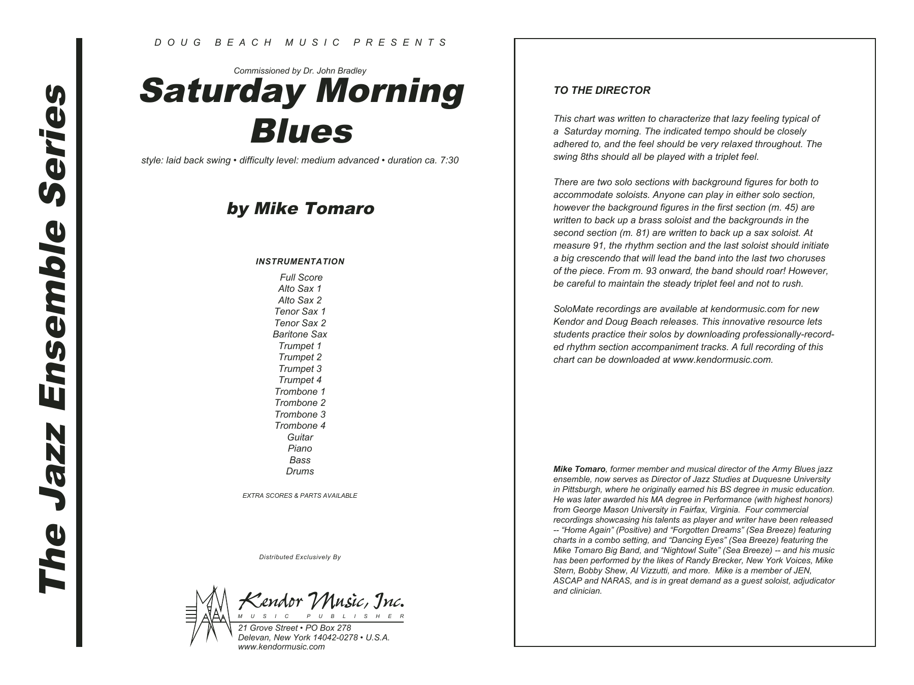 Saturday Morning Blues (COMPLETE) sheet music for jazz band by Mike Tomaro. Score Image Preview.