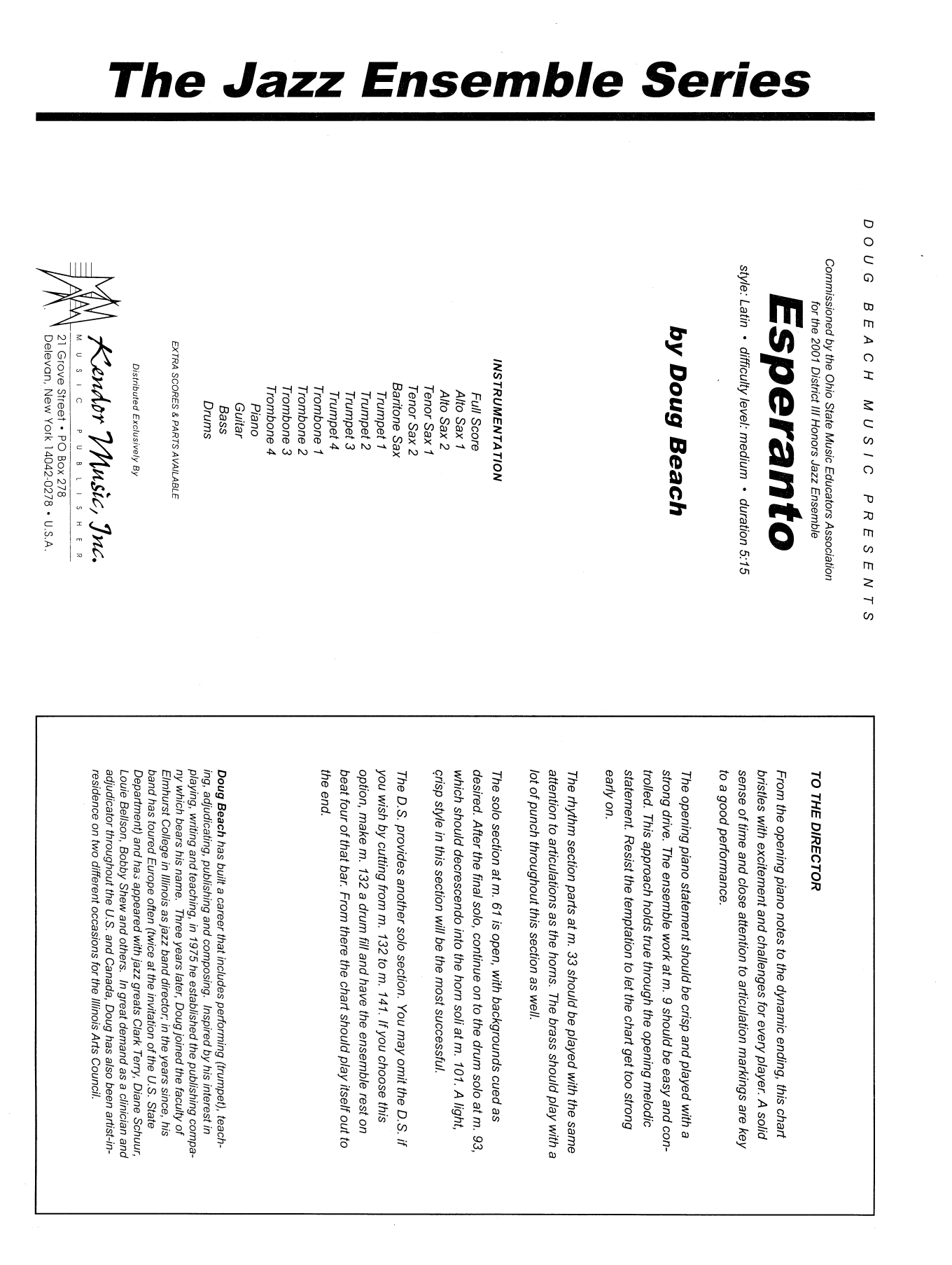 Esperanto (COMPLETE) sheet music for jazz band by Doug Beach. Score Image Preview.
