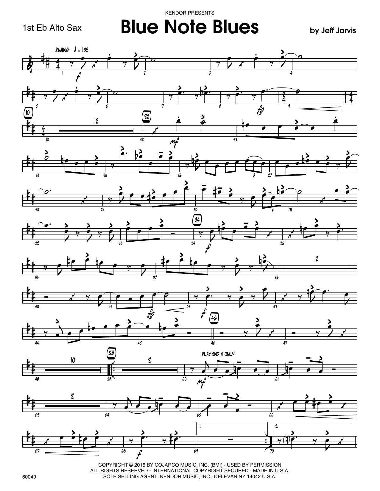 Blue Note Blues - 1st Eb Alto Saxophone by Jeff Jarvis Jazz Ensemble  Digital Sheet Music