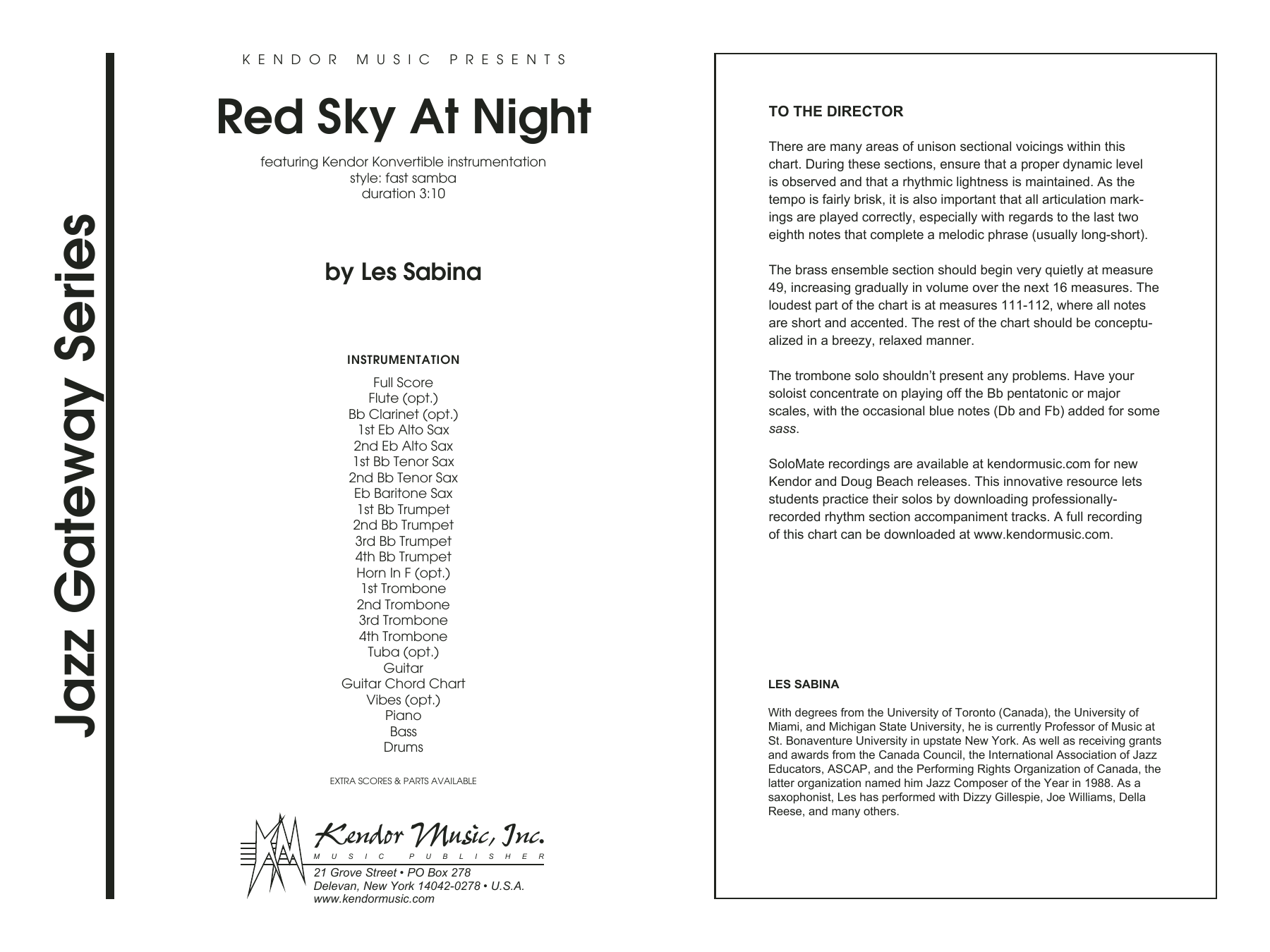 Red Sky At Night (COMPLETE) sheet music for jazz band by Les Sabina. Score Image Preview.