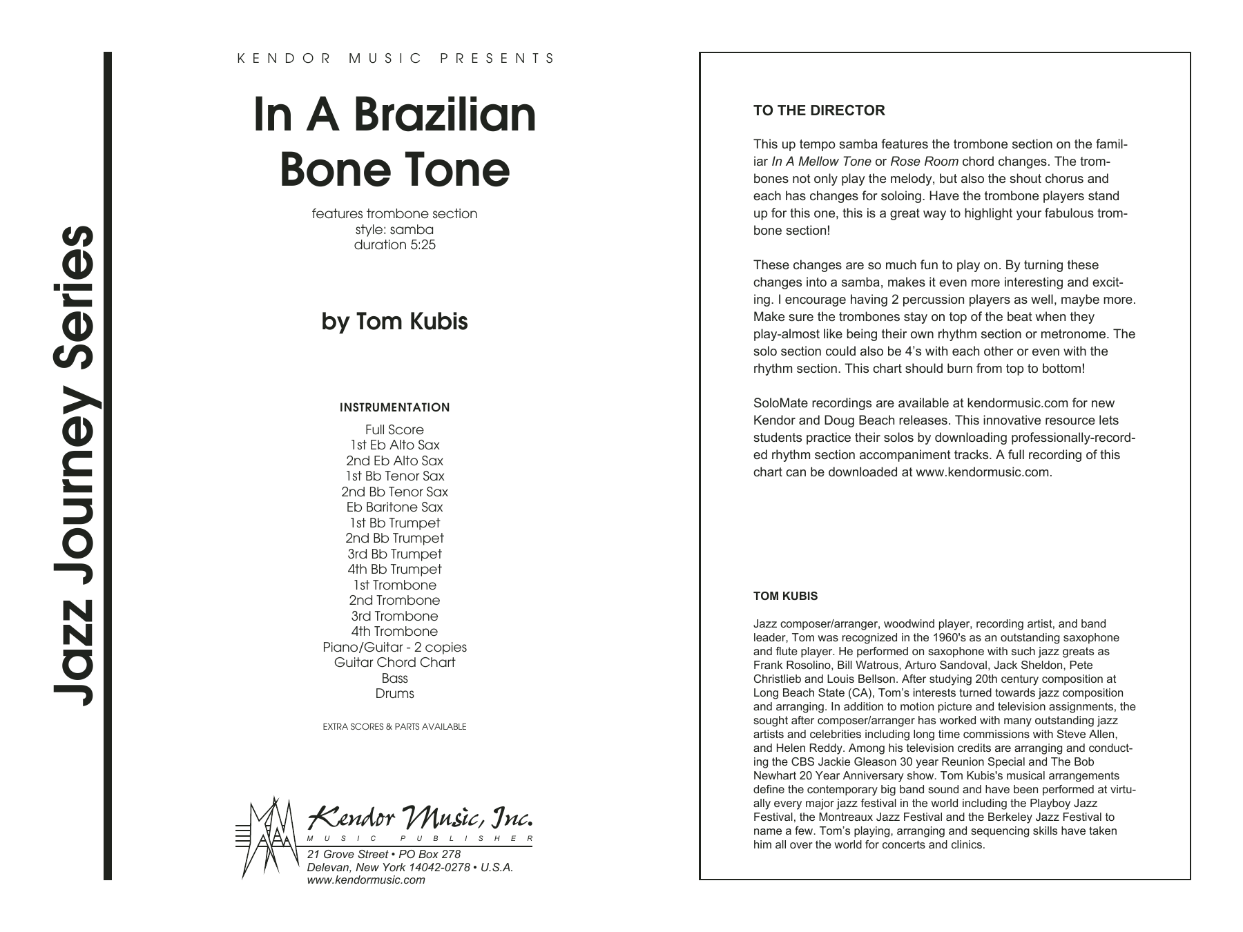 In A Brazilian Bone Tone (COMPLETE) sheet music for jazz band by Tom Kubis. Score Image Preview.