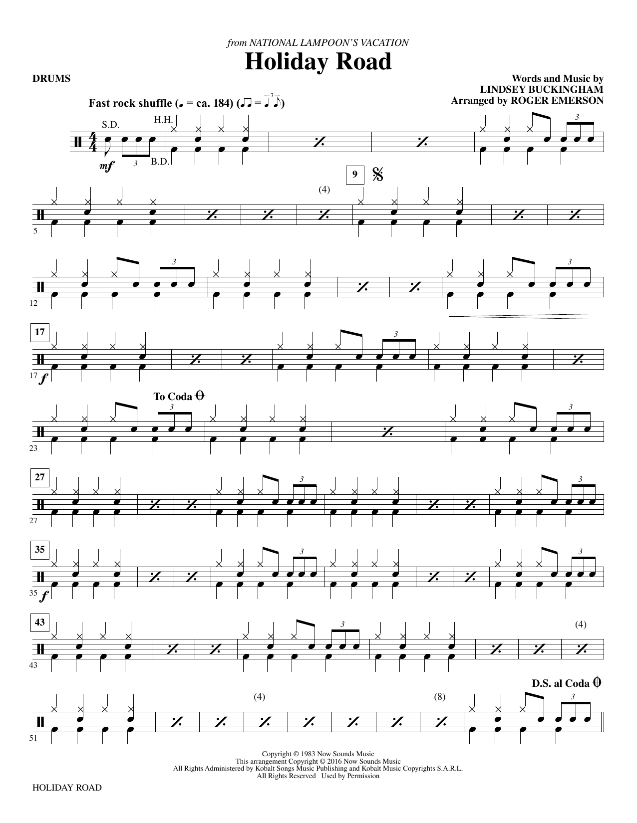 Holiday Road - Drums Sheet Music