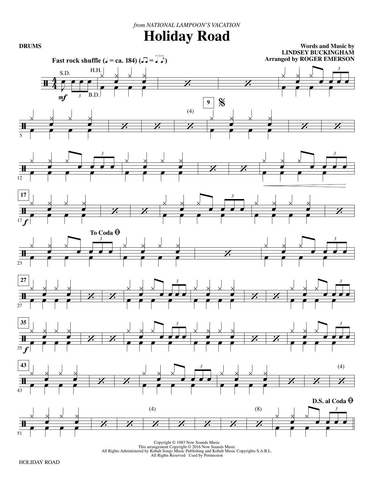 Holiday Road - Drums (Choir Instrumental Pak)