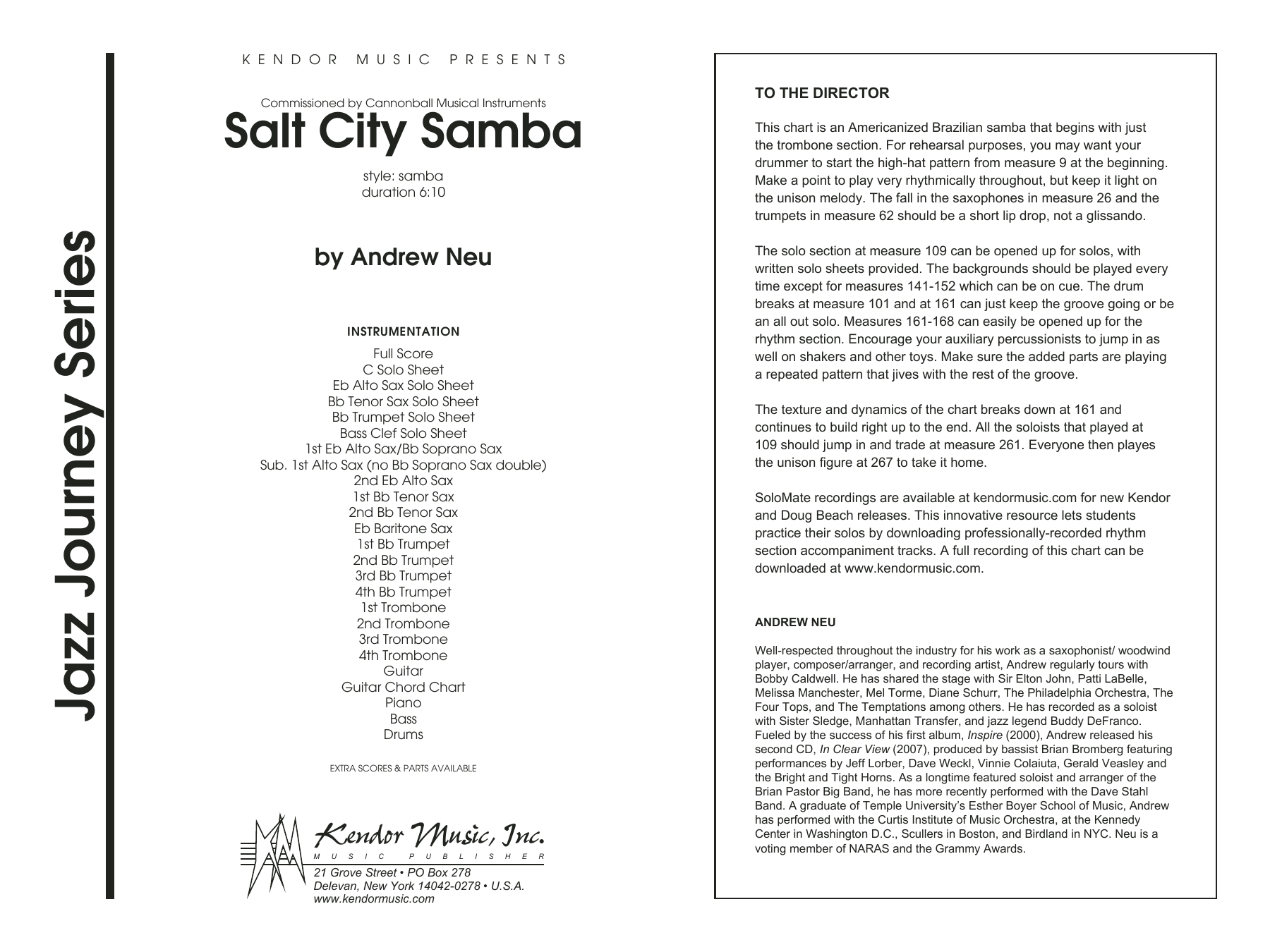 Salt City Samba (COMPLETE) sheet music for jazz band by Neu. Score Image Preview.
