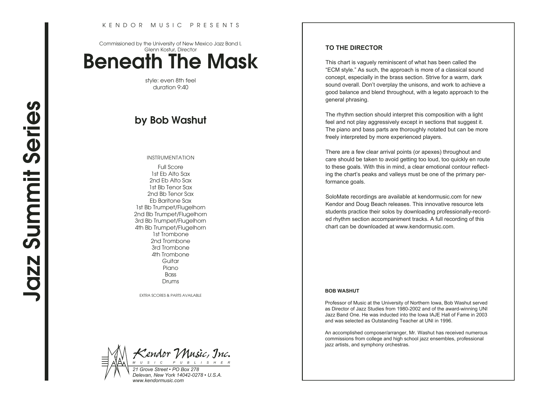 Beneath The Mask (COMPLETE) sheet music for jazz band by Washut. Score Image Preview.