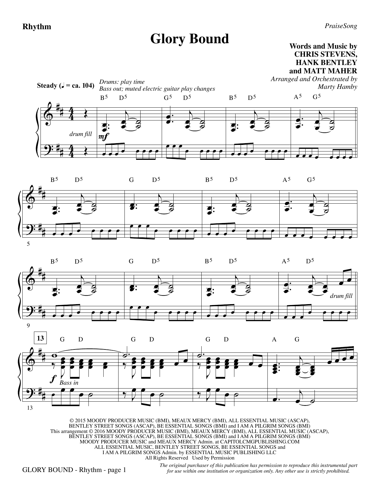 Glory Bound - Rhythm Sheet Music