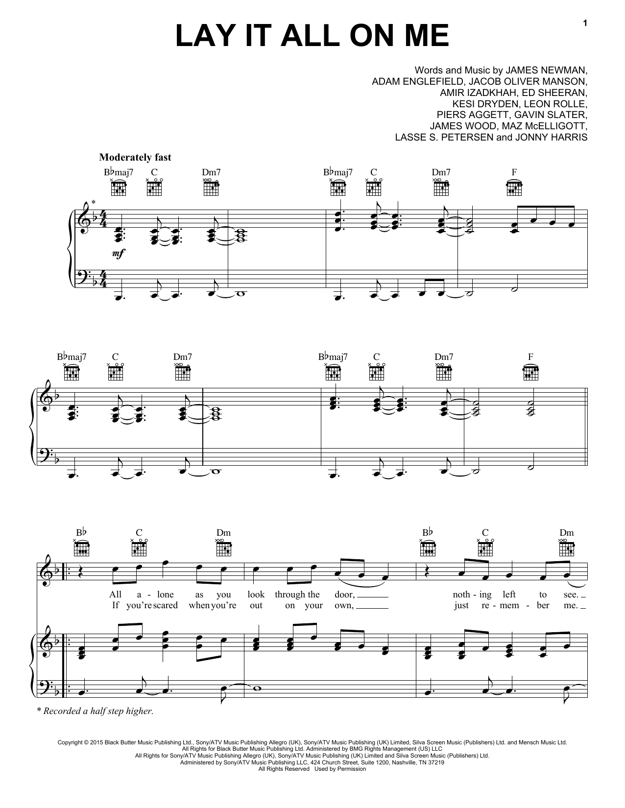 Lay It All On Me Sheet Music