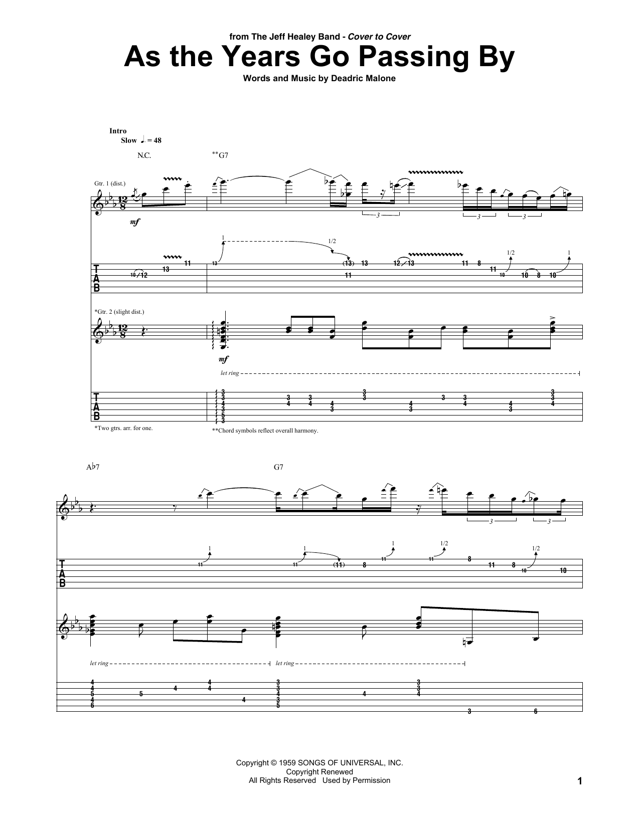 As The Years Go Passing By Jeff Healey Band Guitar Tab