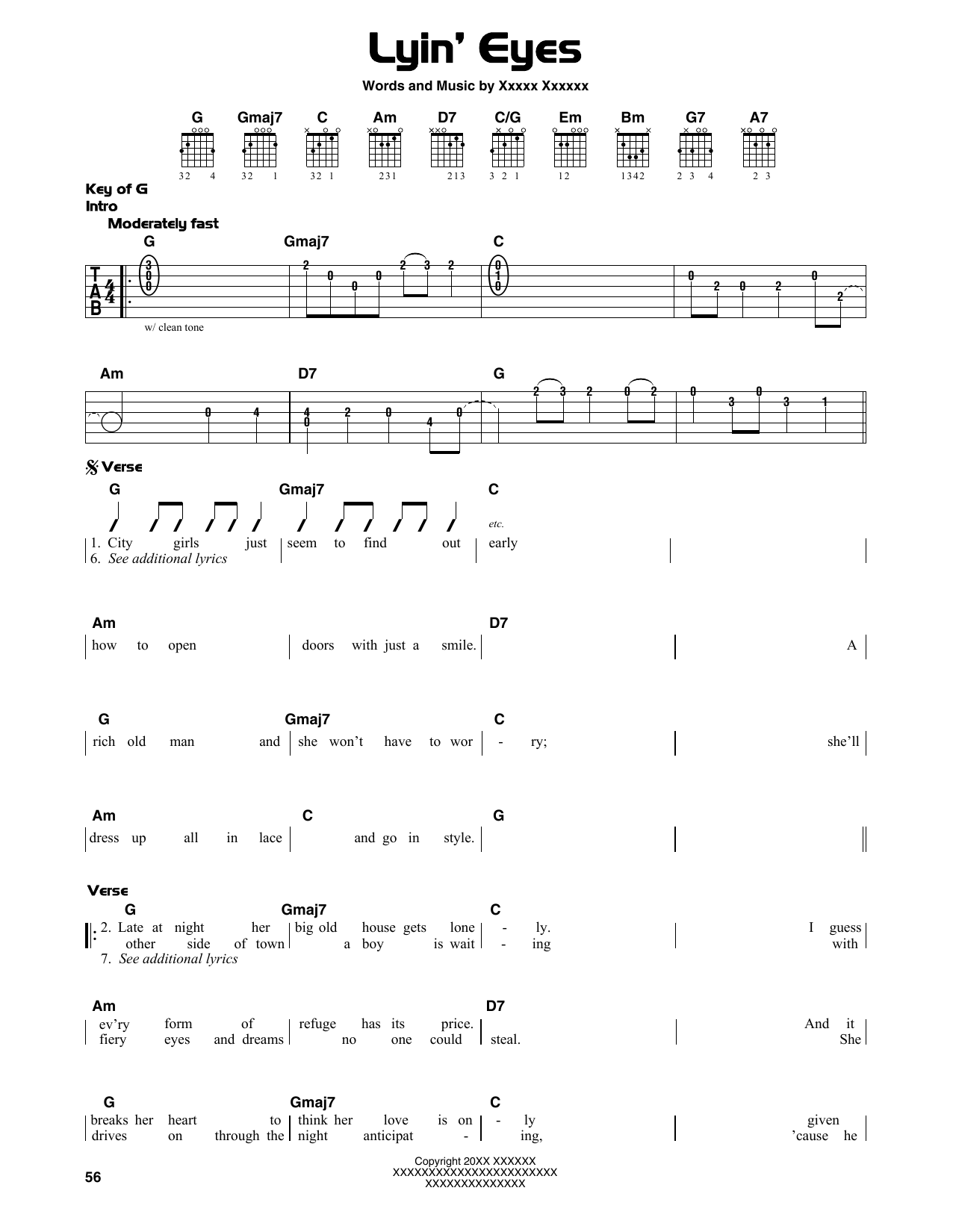 Lyin' Eyes (Guitar Lead Sheet)